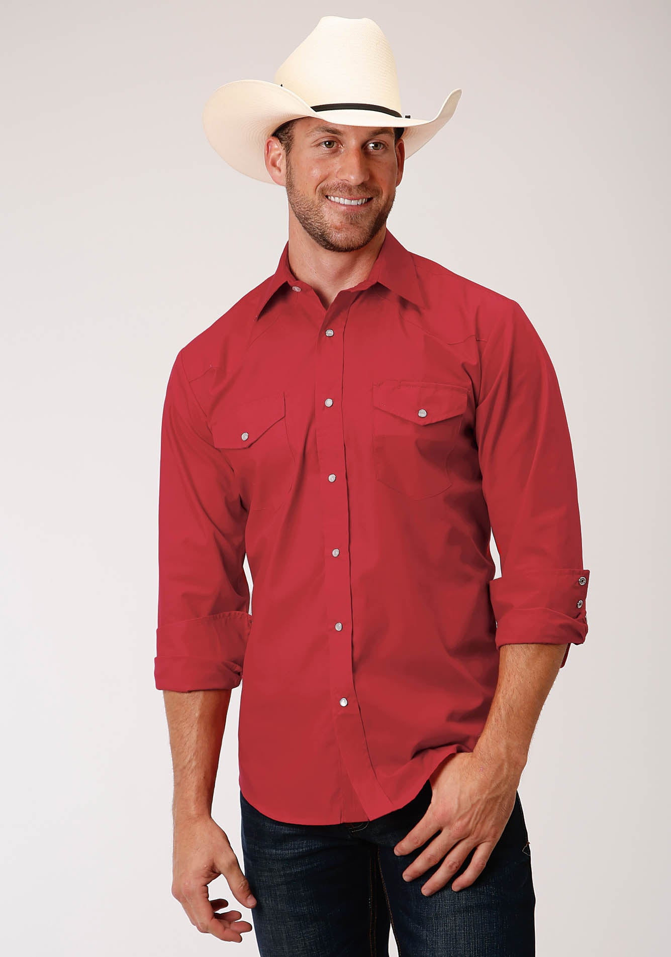 ROPER MENS RED 00252 RED SOLID BROADCLOTH KARMAN CLASSICS- 55/45 SOLIDS LONG SLEEVE