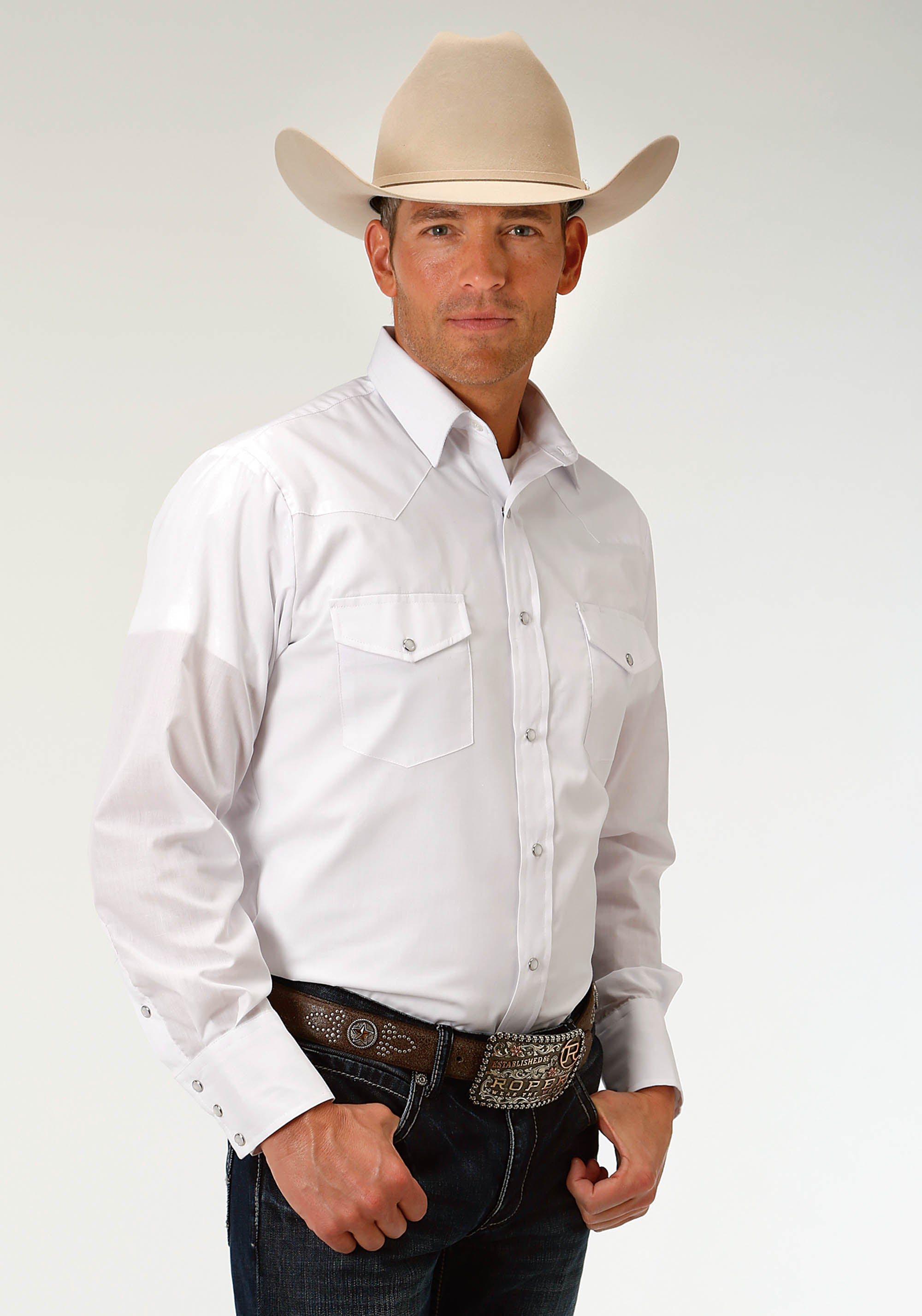 ROPER MENS WHITE 3603 SOLID BROADCLOTH - OPTIC WHITE KARMAN CLASSICS- 55/45 SOLID LONG SLEEVE