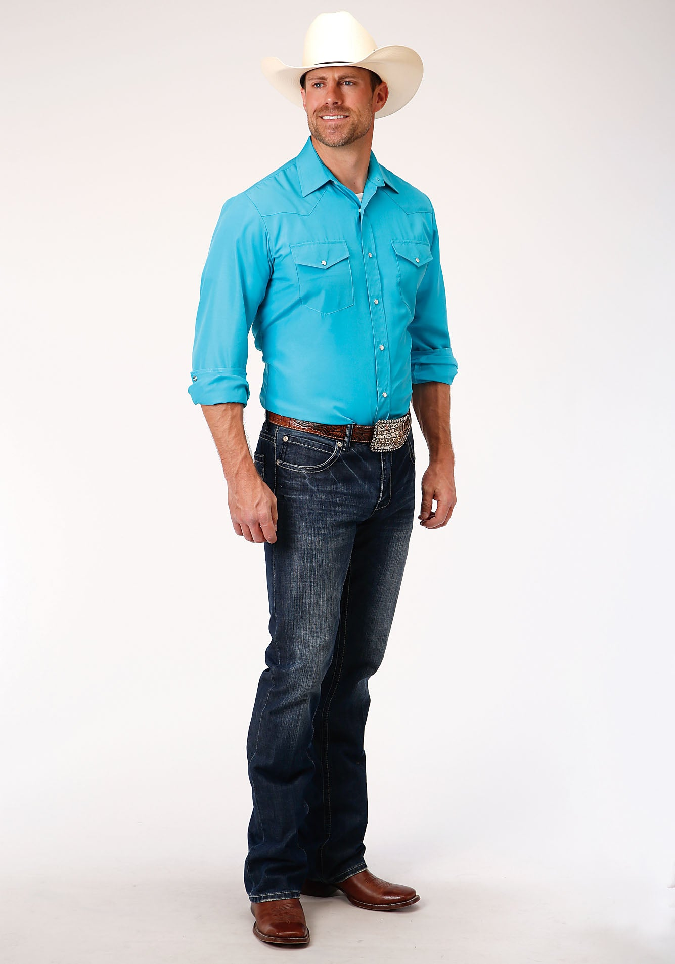 ROPER MENS BLUE 00148 SOLID BROADCLOTH - TURQUOISE KARMAN CLASSICS- 55/45 SOLID LONG SLEEVE