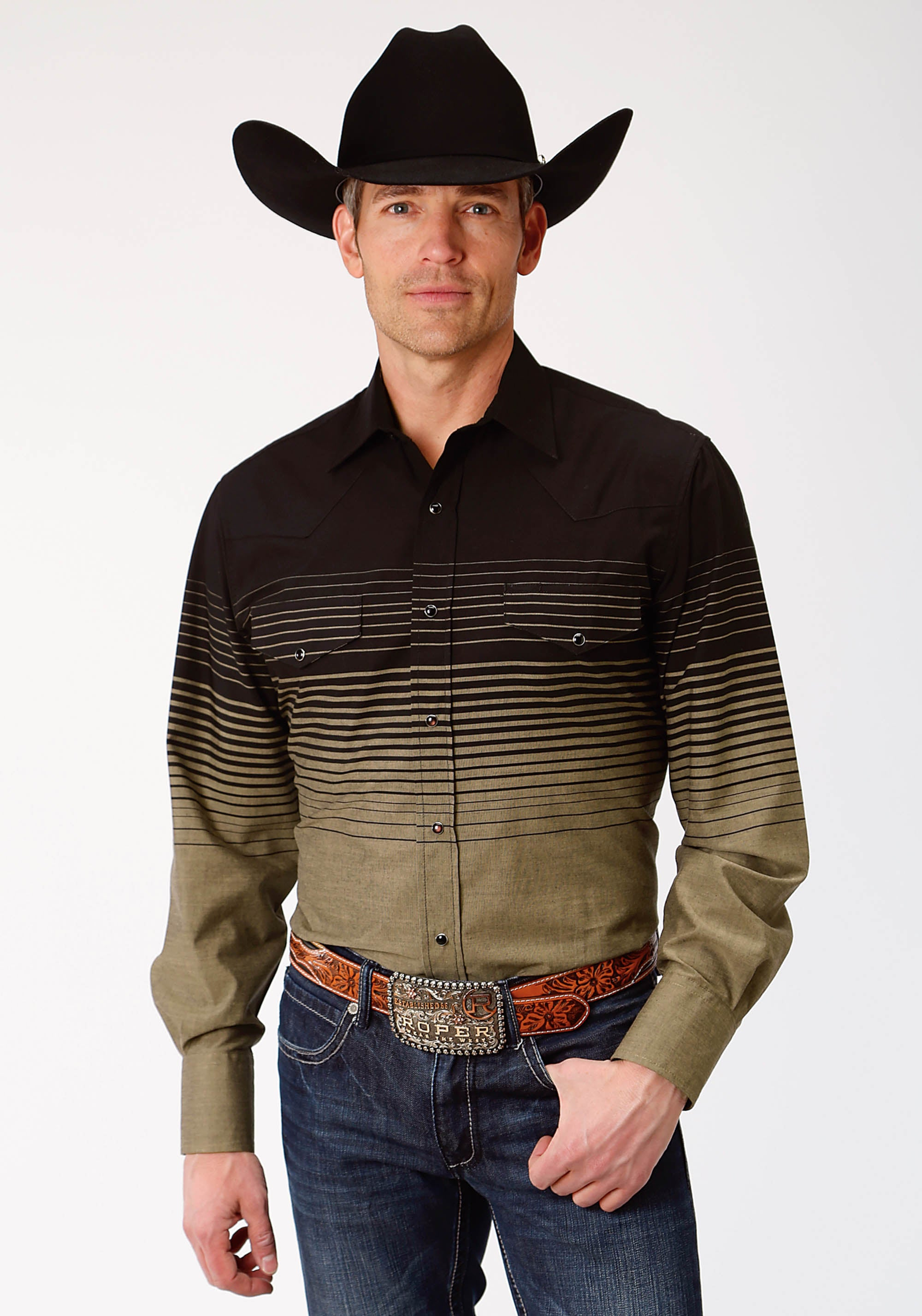 ROPER MENS BLACK 9909 BLACK AND KHAKI BORDER STRIPE KARMAN SPECIAL STYLES LONG SLEEVE