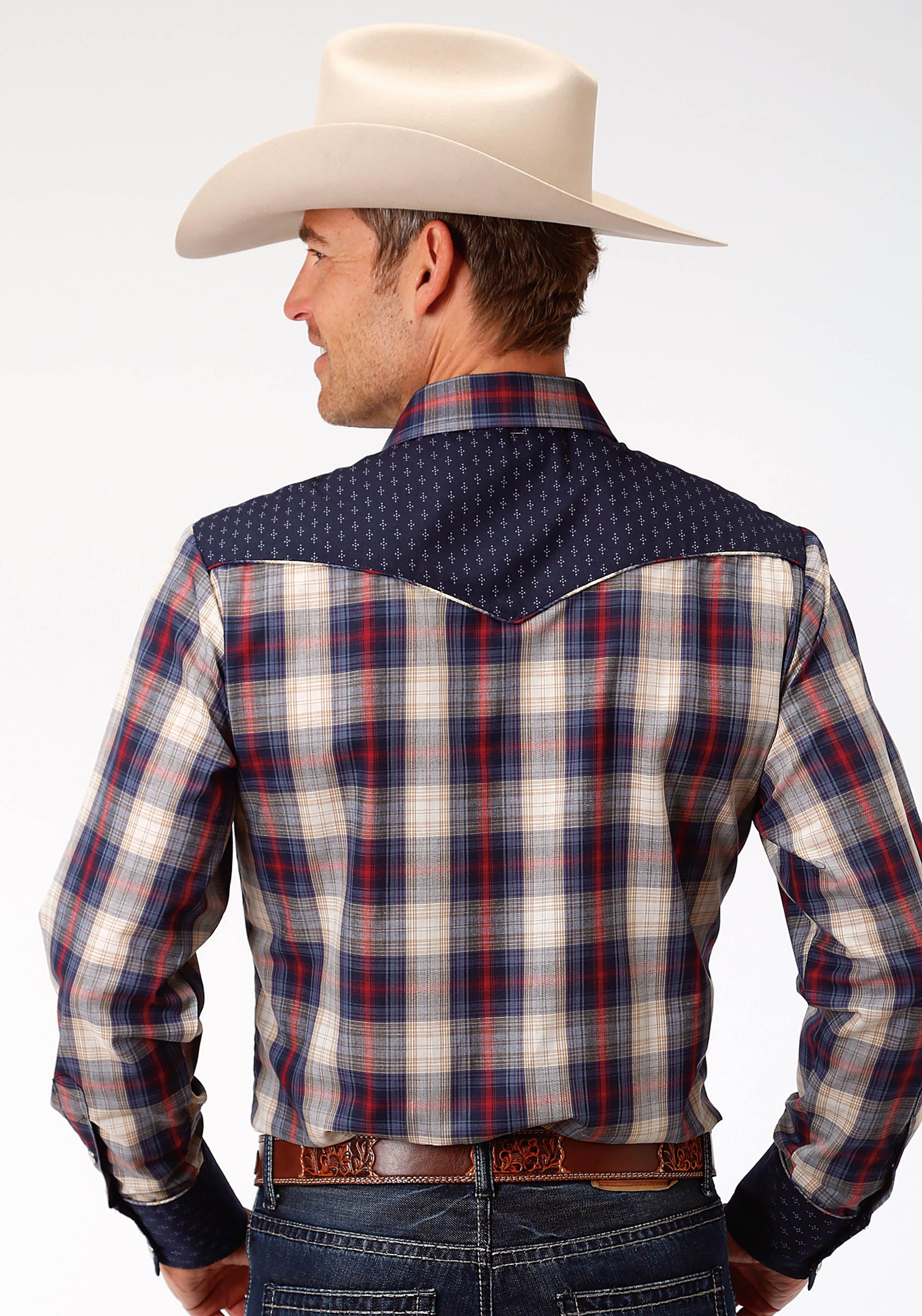 ROPER MENS BLUE 0026 NAVY,CREAM & RED PLAID KARMAN SPECIAL STYLES LONG SLEEVE
