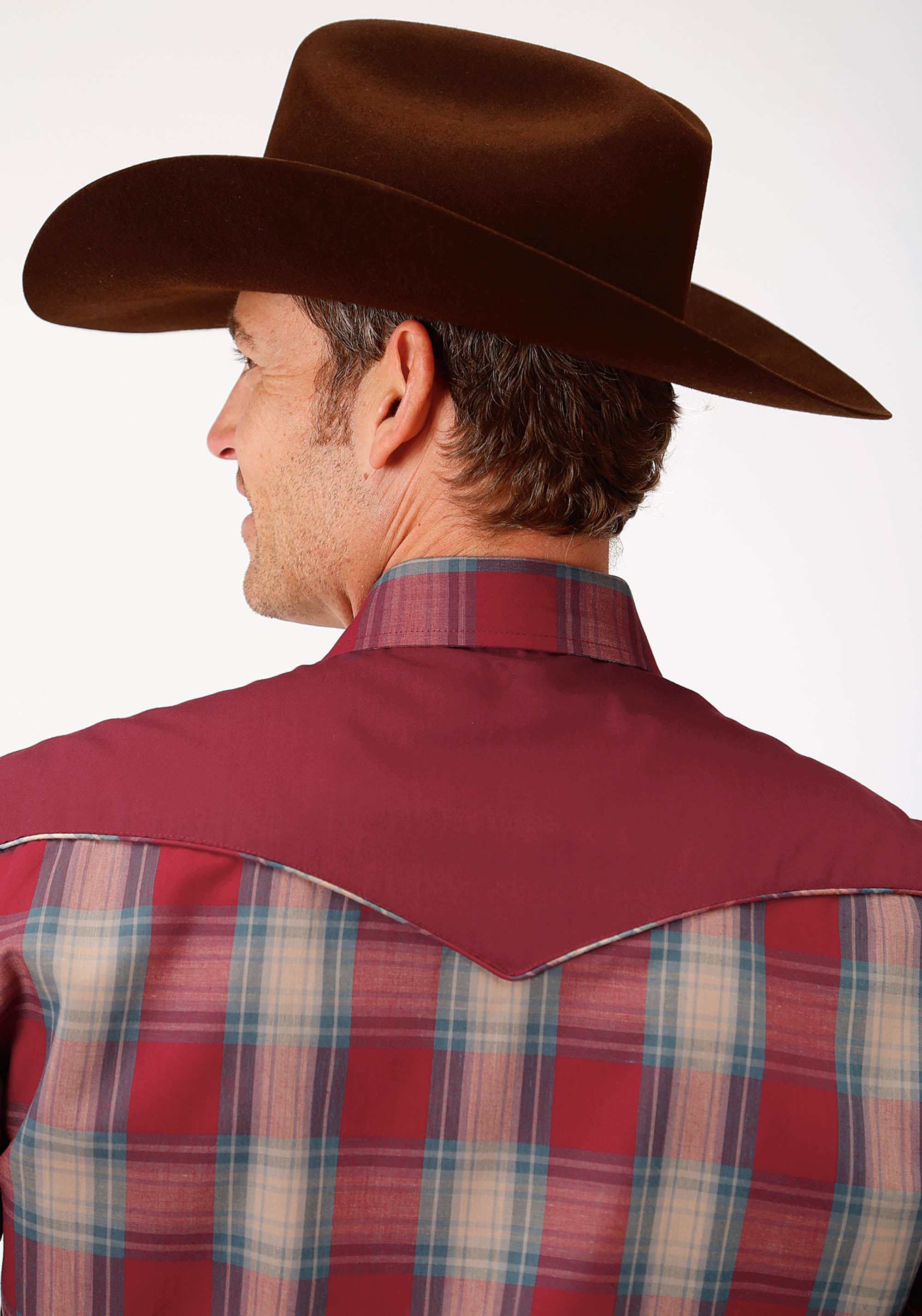 ROPER MENS RED 0114 RED DUTCH BLUE & TAN PLAID KARMAN SPECIAL STYLES LONG SLEEVE
