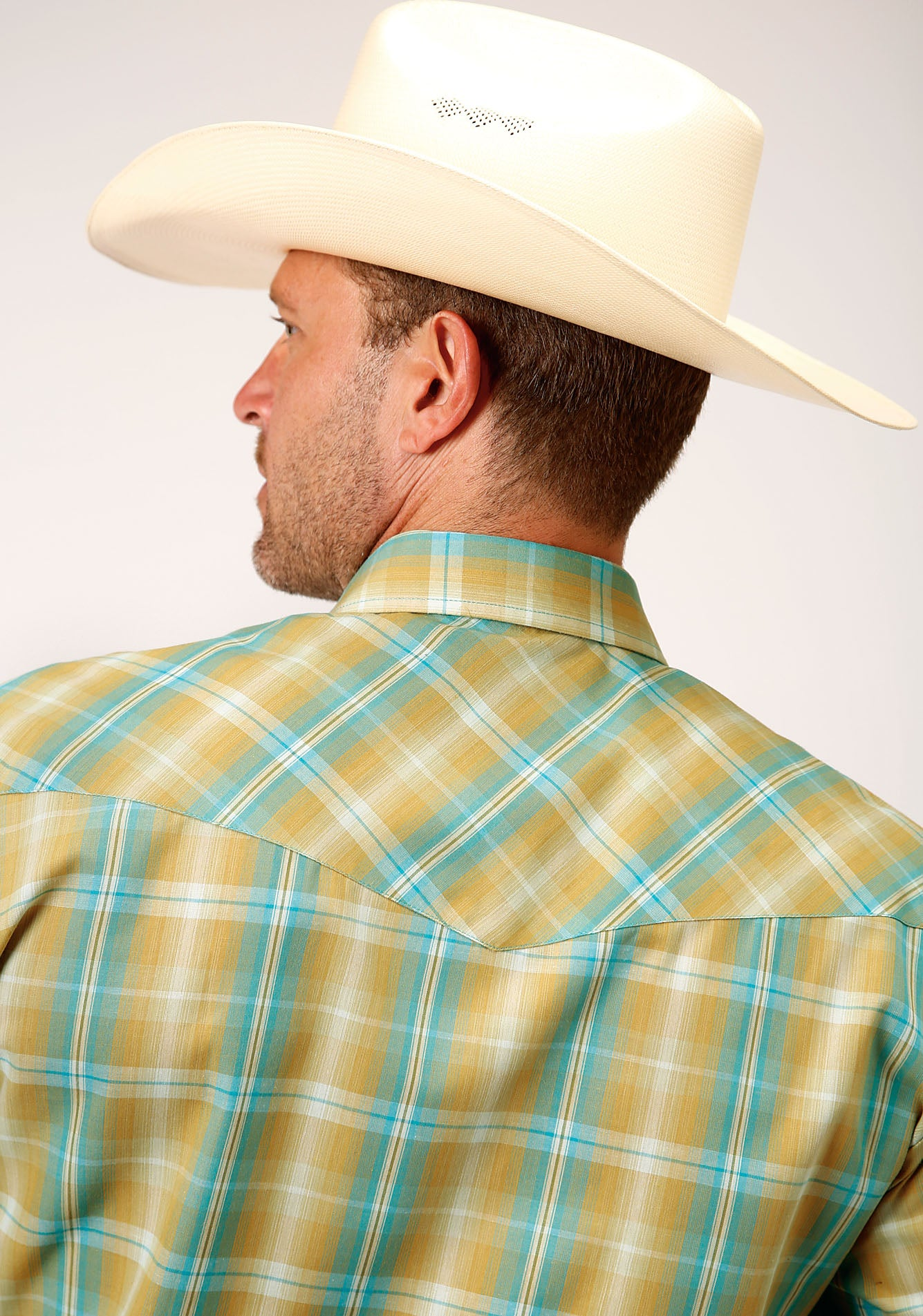 ROPER MENS GREEN 00044 CELERY & TURQUOISE PLAID KARMAN CLASSICS- 55/45 PLAID LONG SLEEVE