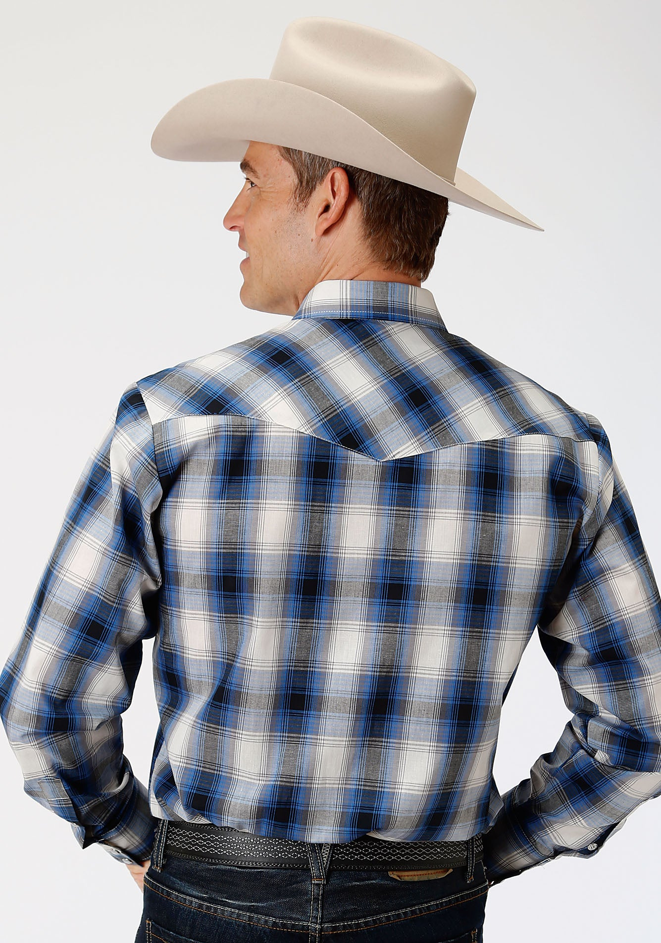ROPER MENS BLUE 00045 BLUE, BLACK & CREAM PLAID KARMAN CLASSICS- 55/45 PLAID LONG SLEEVE