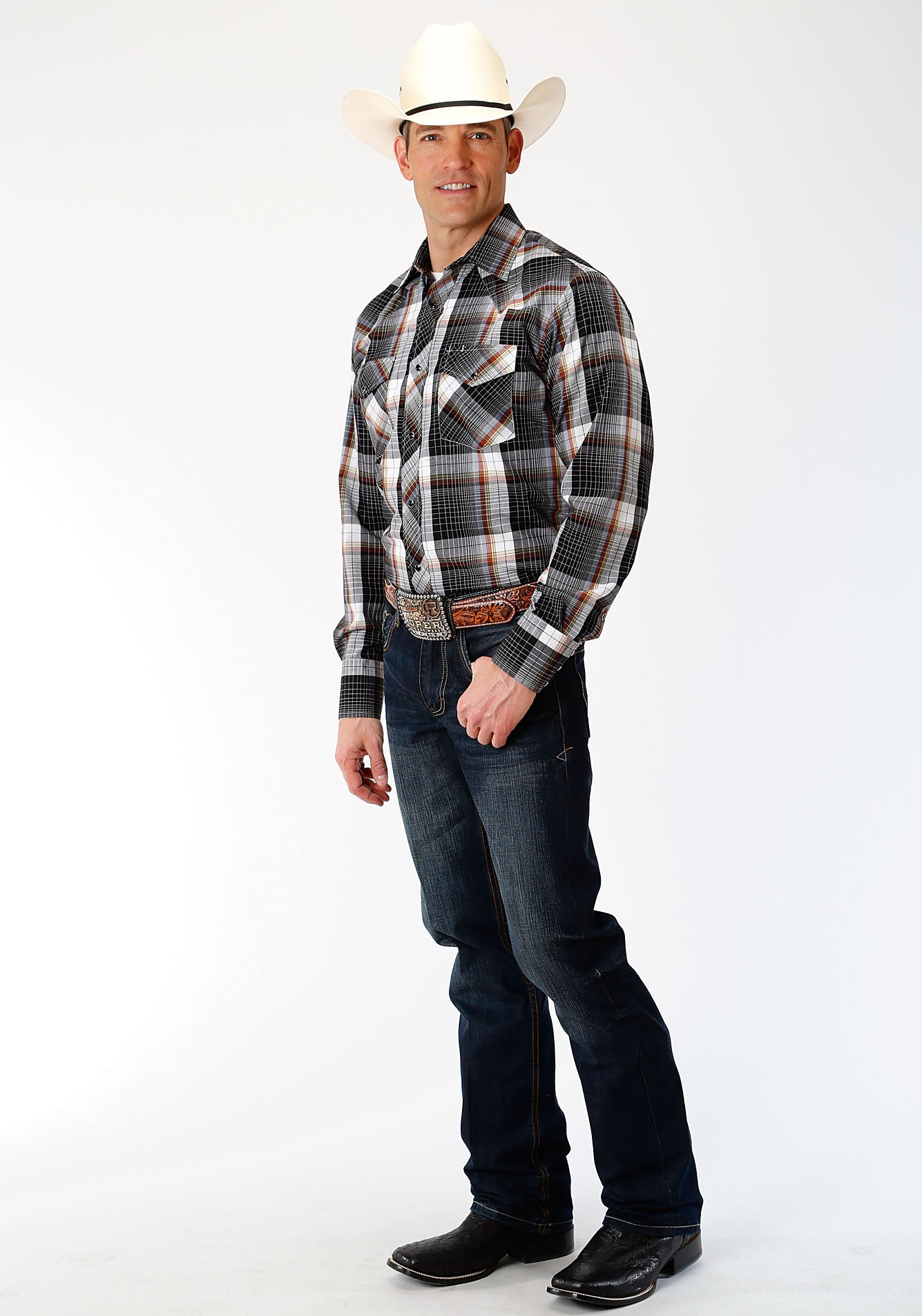 ROPER MENS BLACK 00052 BLACK, WHITE & RUST WINDOWPANE KARMAN CLASSICS- 55/45 PLAID LONG SLEEVE
