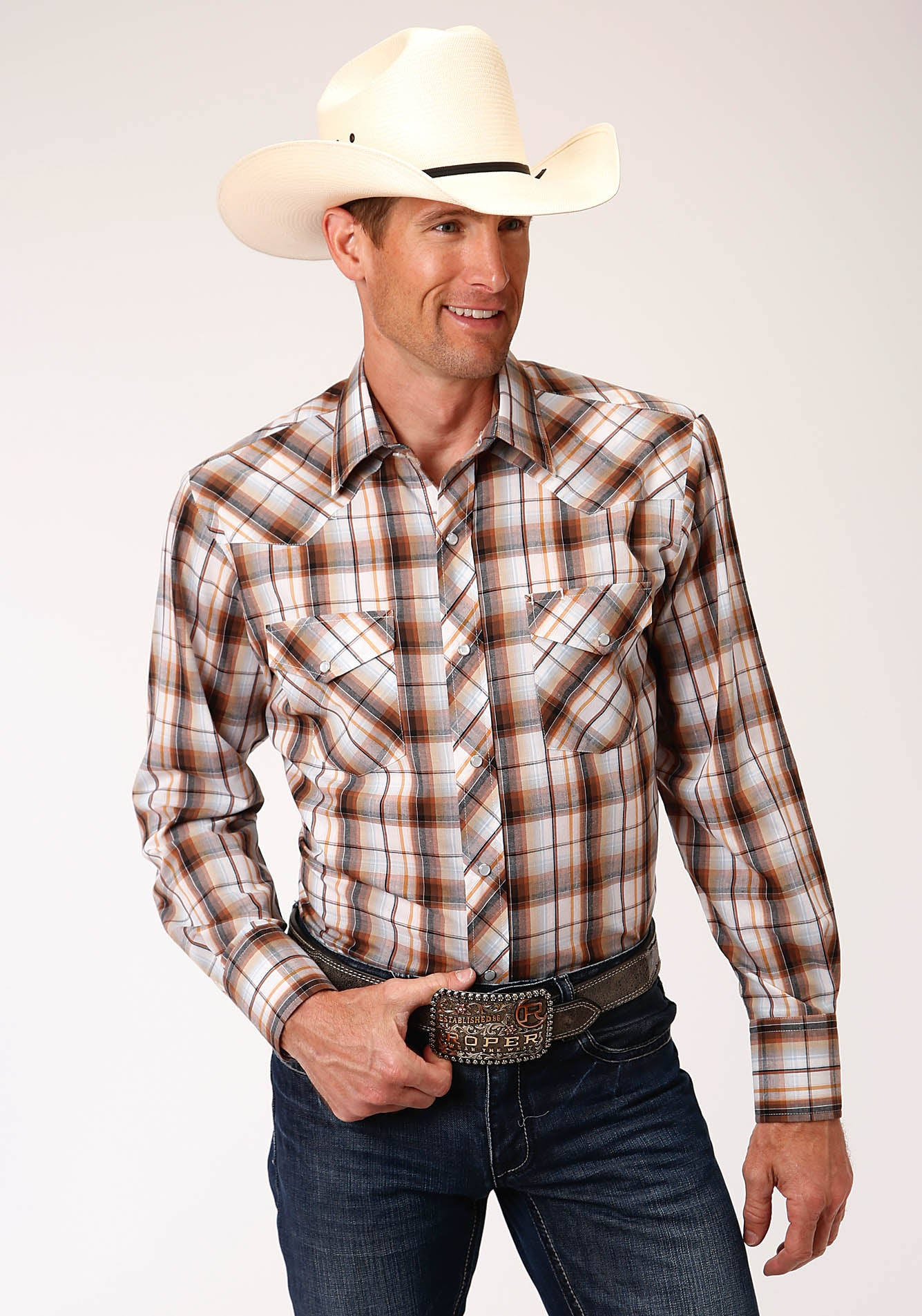 ROPER MENS WHITE 00206 WHITE, BROWN, BLACK & ORANGE PLD KARMAN CLASSICS- 55/45 PLAIDS LONG SLEEVE