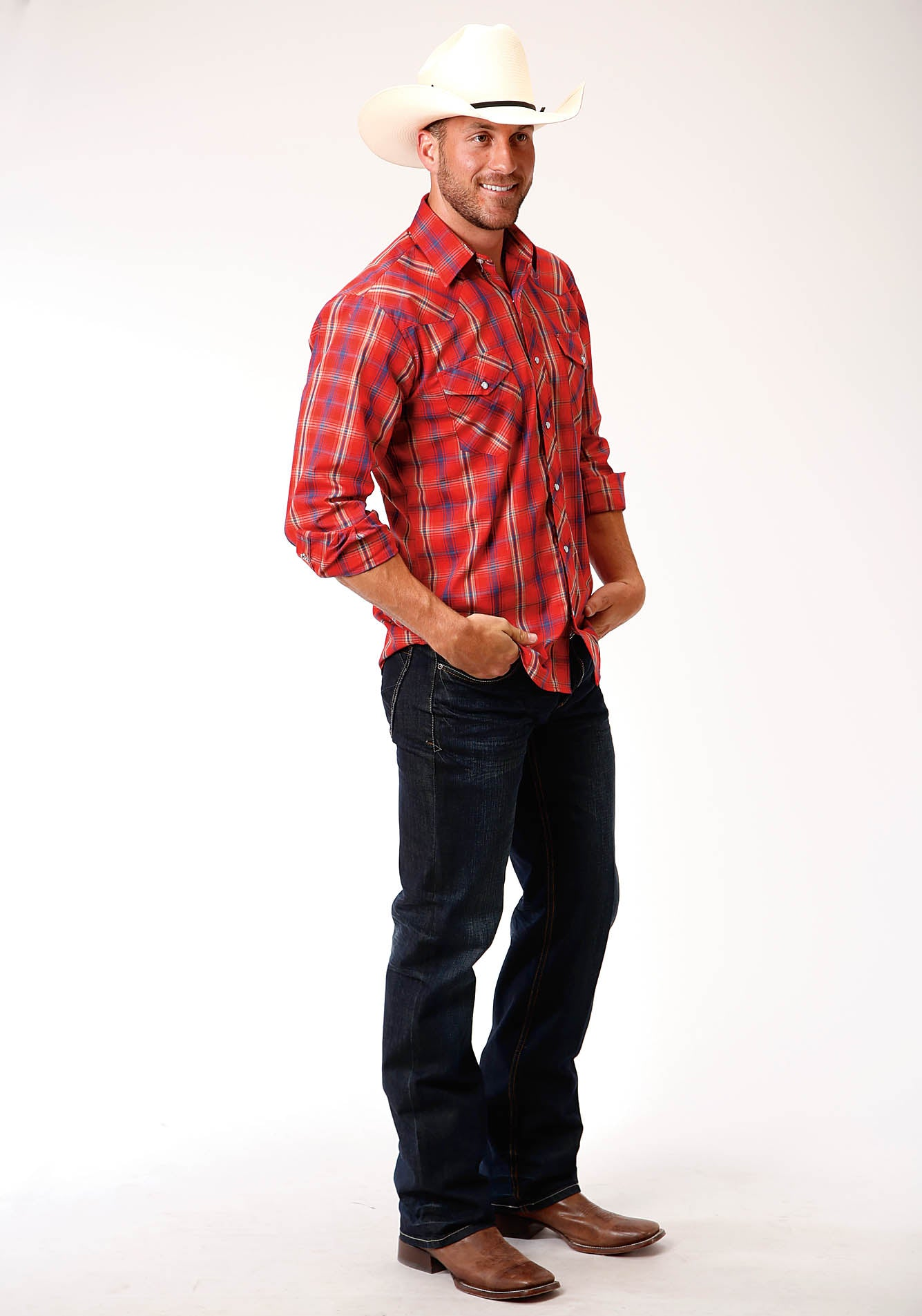 ROPER MENS RED 00210 RED, BLUE, TAN AND WHITE PLAID KARMAN CLASSICS- 55/45 PLAIDS LONG SLEEVE