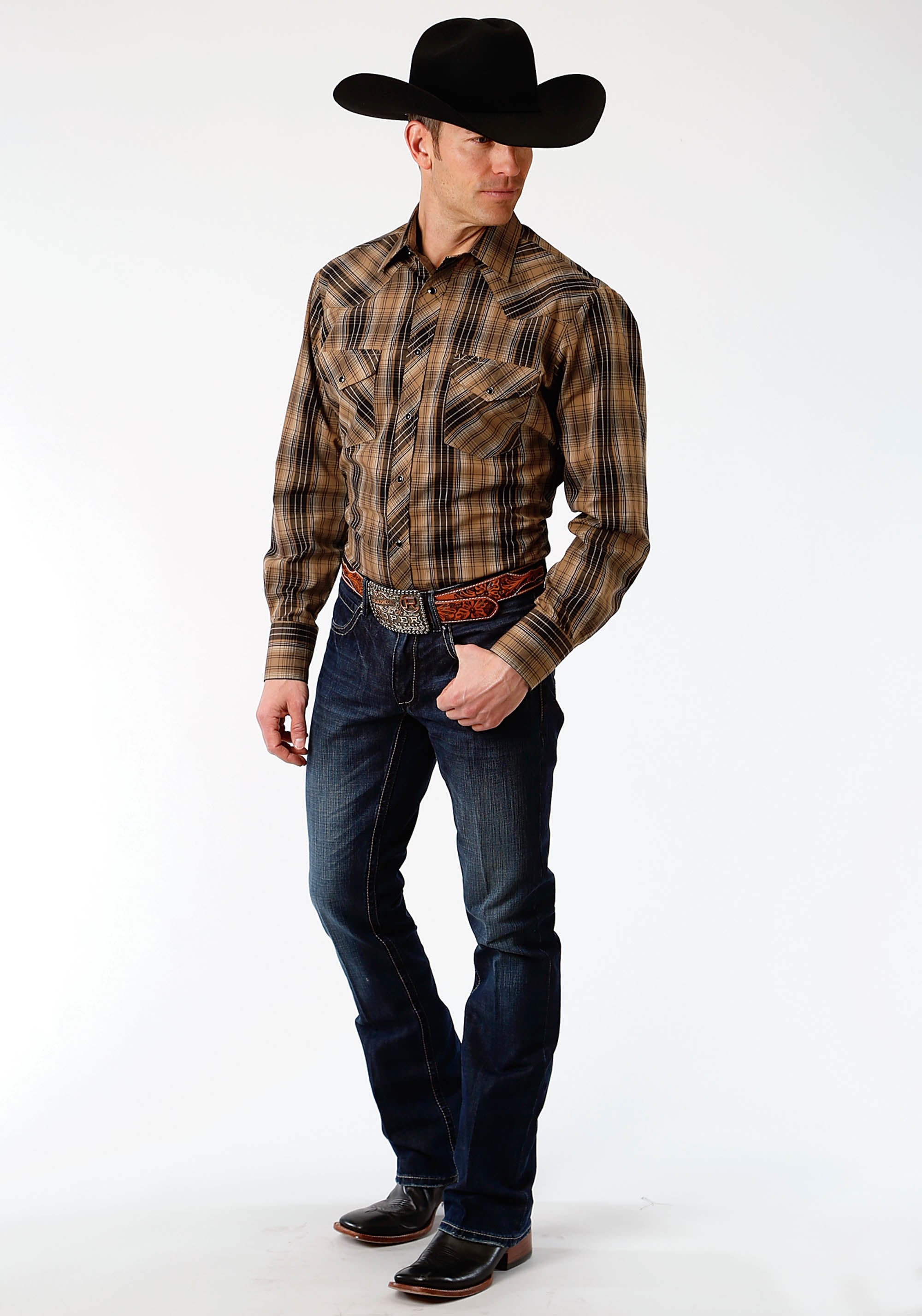 ROPER MENS BROWN 134 BROWN AND BLACK PLAID KARMAN CLASSICS- 55/45 PLAID LONG SLEEVE