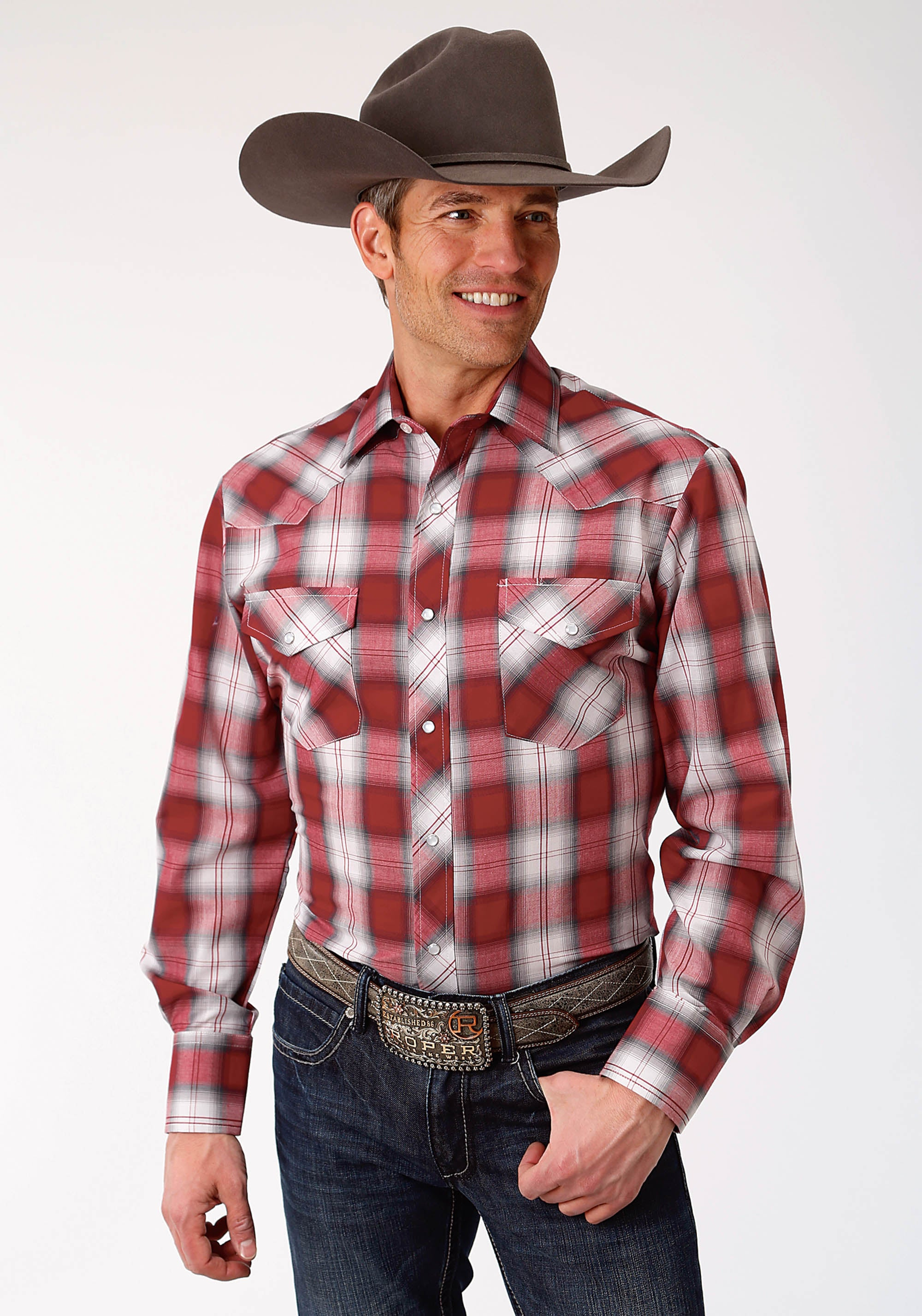 ROPER MENS RED 9910 RED, WHITE, & GREY PLAID KARMAN CLASSICS- 55/45 PLAID LONG SLEEVE