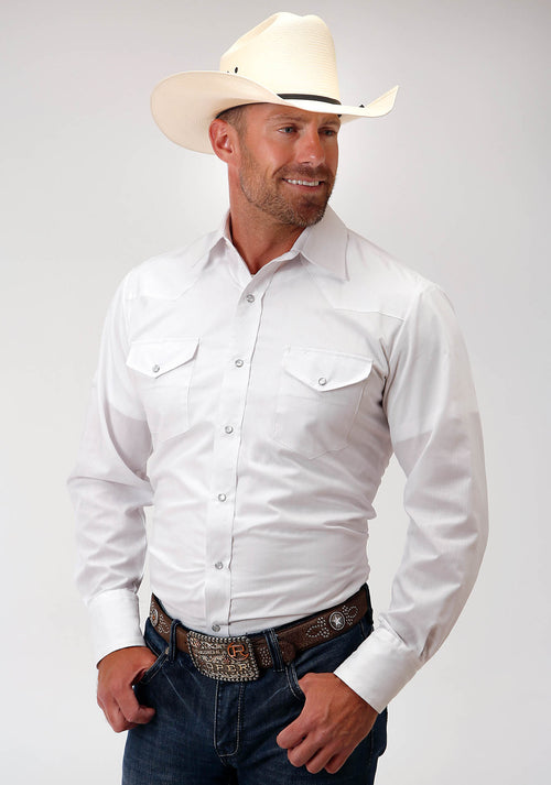 ROPER MENS WHITE 00249 WHITE CROSS-STITCH TONE ON TONE KARMAN CLASSICS- 80/20 TONE ON TONE SOLIDS LONG SLEEVE