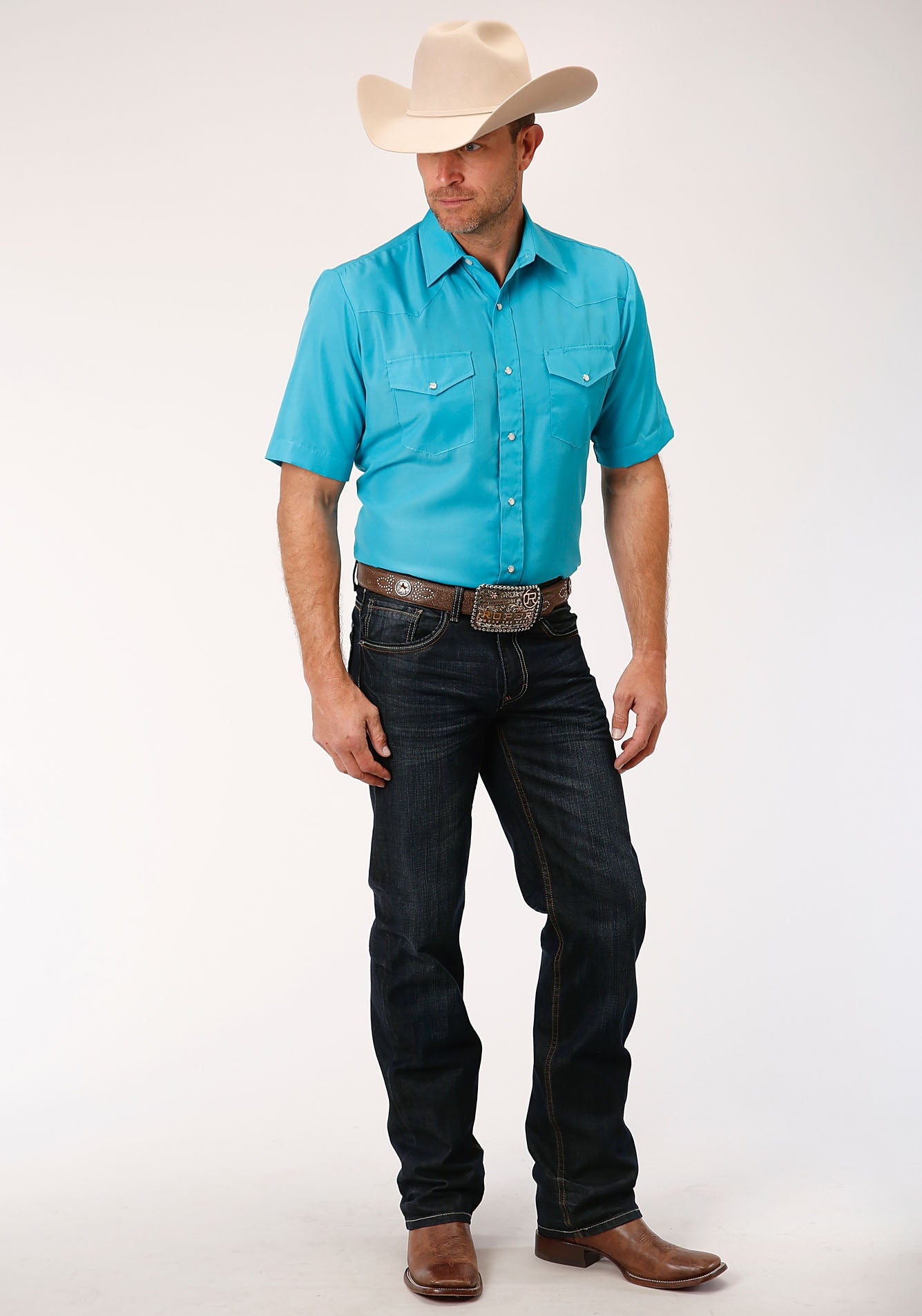 ROPER MENS BLUE 00148 SOLID BROADCLOTH - TURQUOISE KARMAN CLASSICS- 55/45 SOLID SHORT SLEEVE
