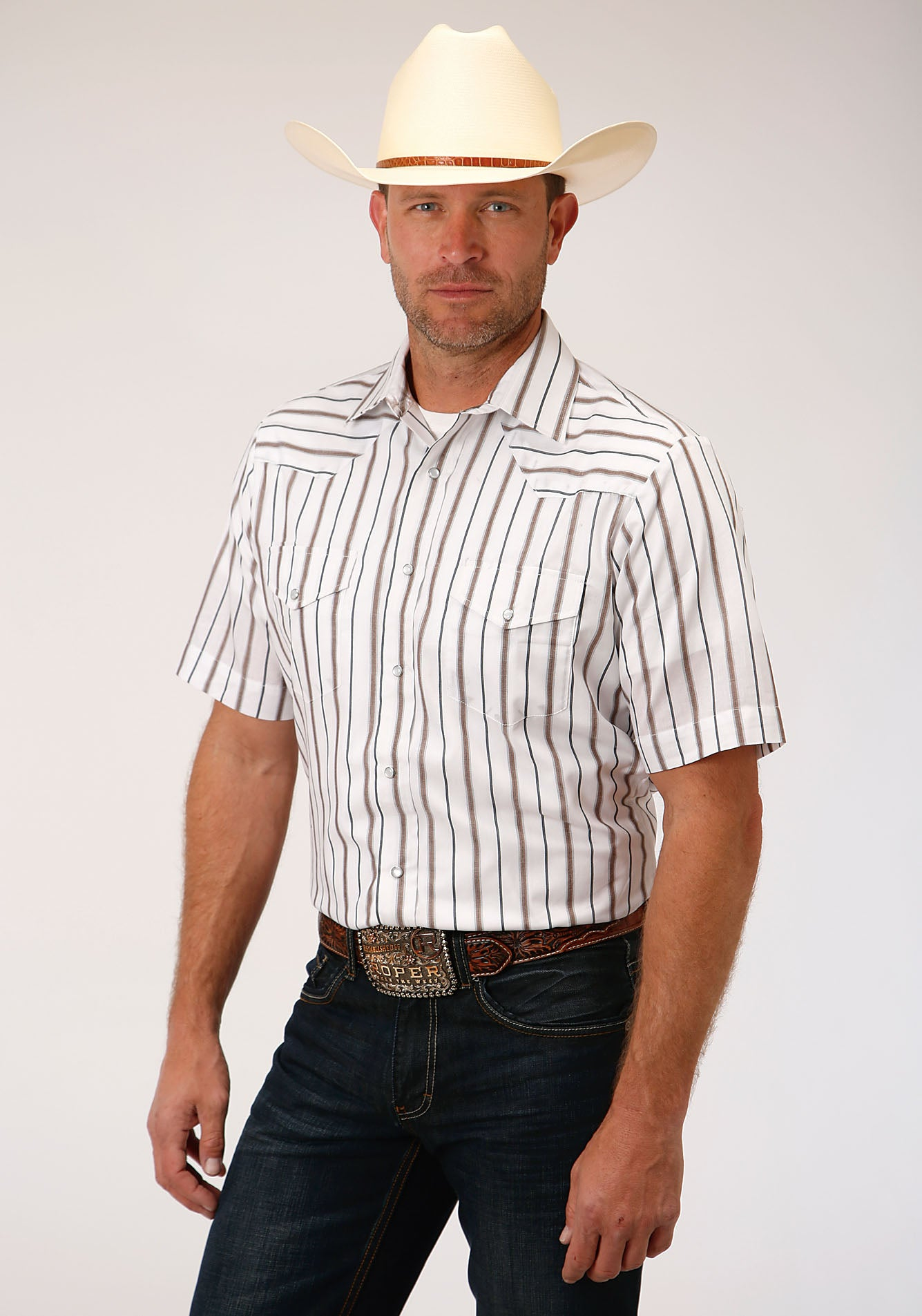 ROPER MENS BROWN 00039 BROWN & GREY WIDE STRIPE KARMAN CLASSICS- 55/45 YD STRIPE SHORT SLEEVE