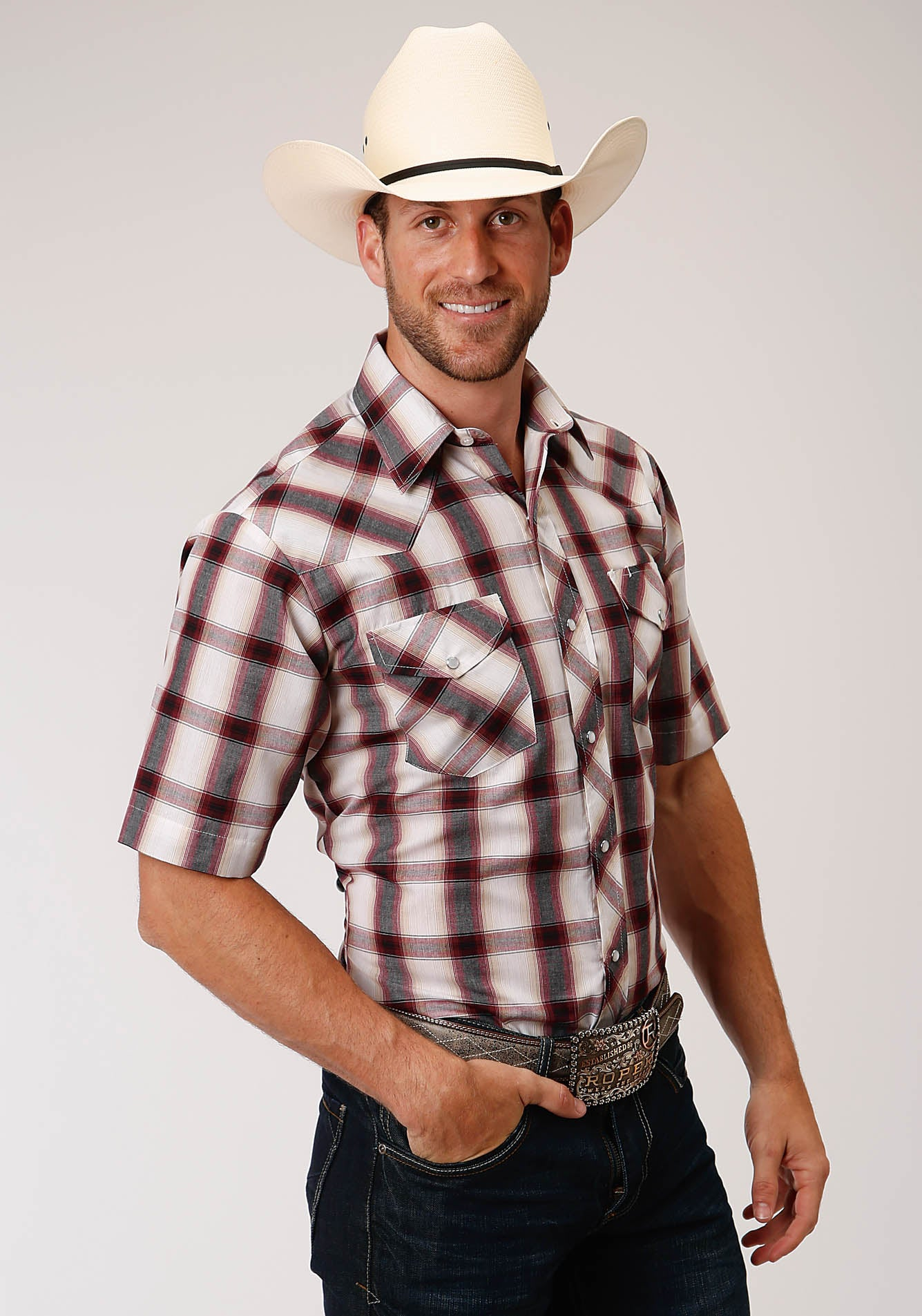 ROPER MENS TAN 00205 TAN, CREAM, BLACK, & WINE PLAID KARMAN CLASSICS- 55/45 PLAIDS SHORT SLEEVE