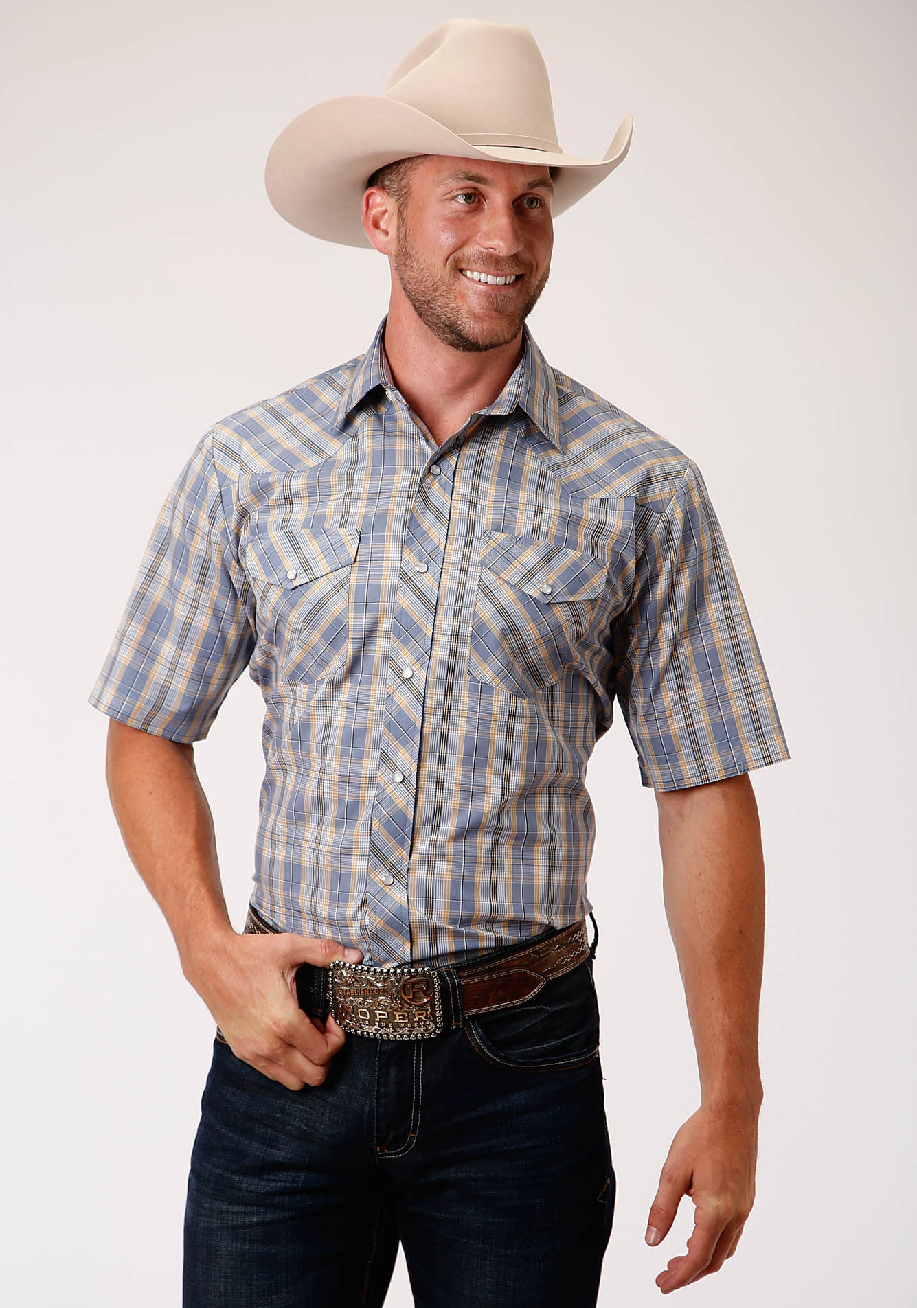 ROPER MENS GREY 00207 STEEL, GOLD, WHITE & BLACK PLAID KARMAN CLASSICS- 55/45 PLAIDS SHORT SLEEVE