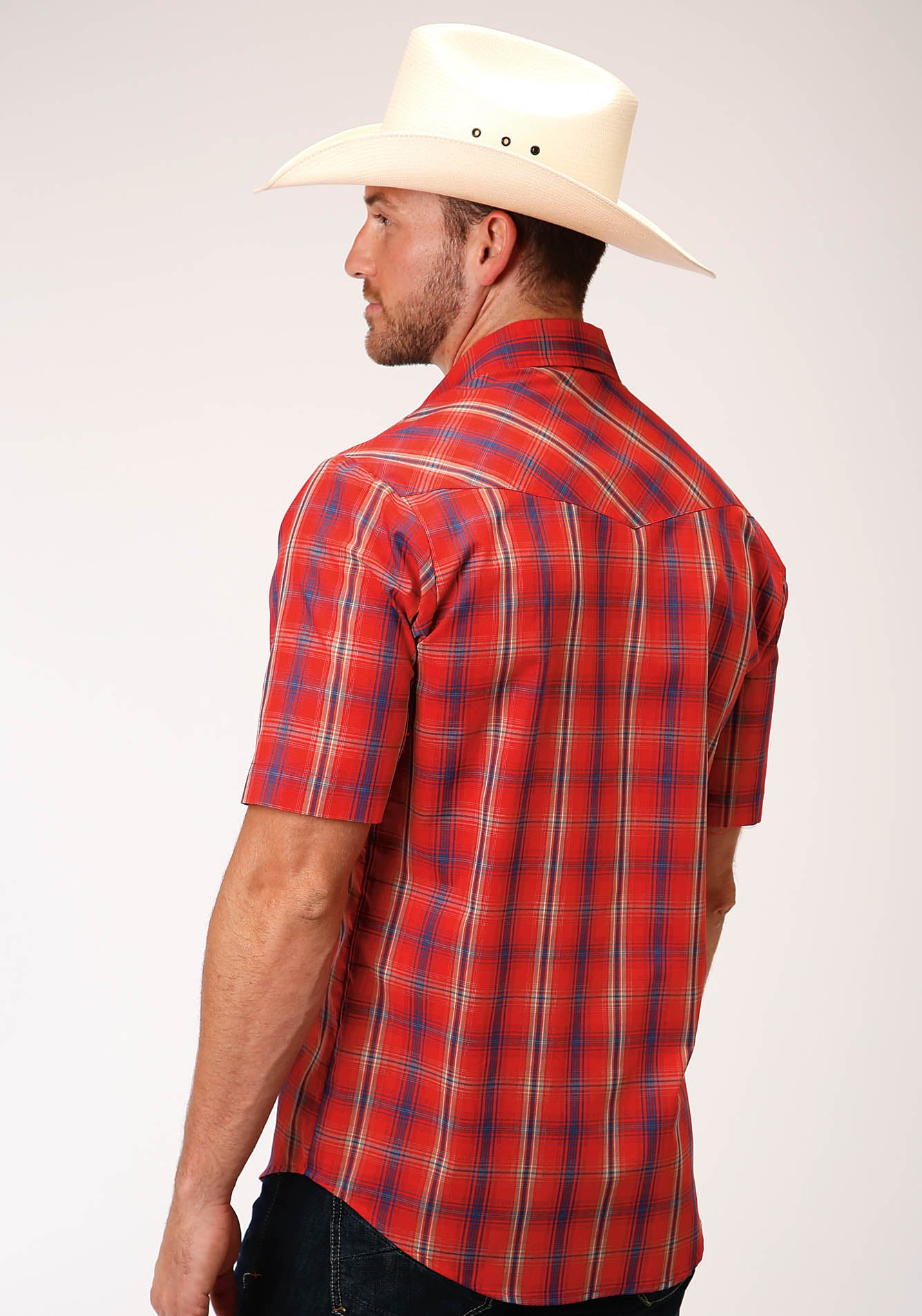ROPER MENS RED 00210 RED, BLUE, TAN AND WHITE PLAID KARMAN CLASSICS- 55/45 PLAIDS SHORT SLEEVE