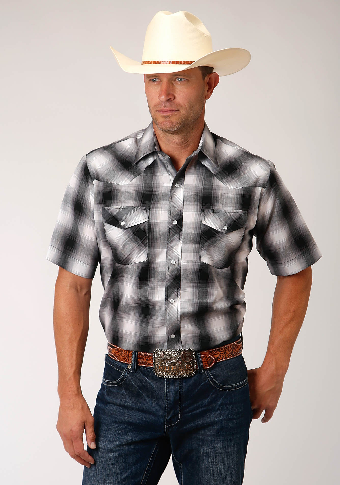 ROPER MENS BLACK 00211 BLACK, GREY, & WHITE PLAID KARMAN CLASSICS- 55/45 PLAIDS SHORT SLEEVE