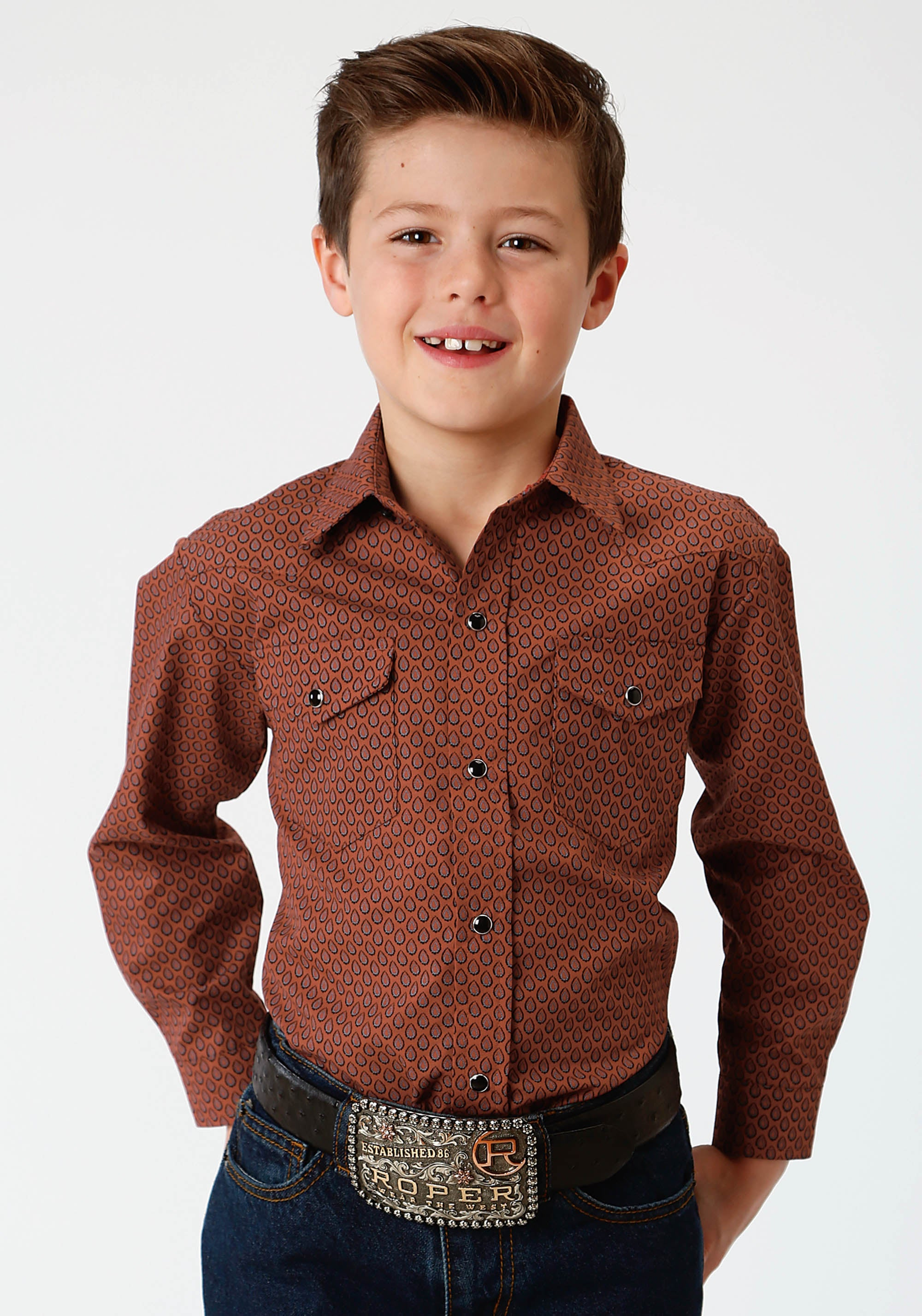 ROPER BOYS RUST 233 RUST TEAR DROP PRINT KARMAN CLASSICS- 55/45 PRINT LONG SLEEVE