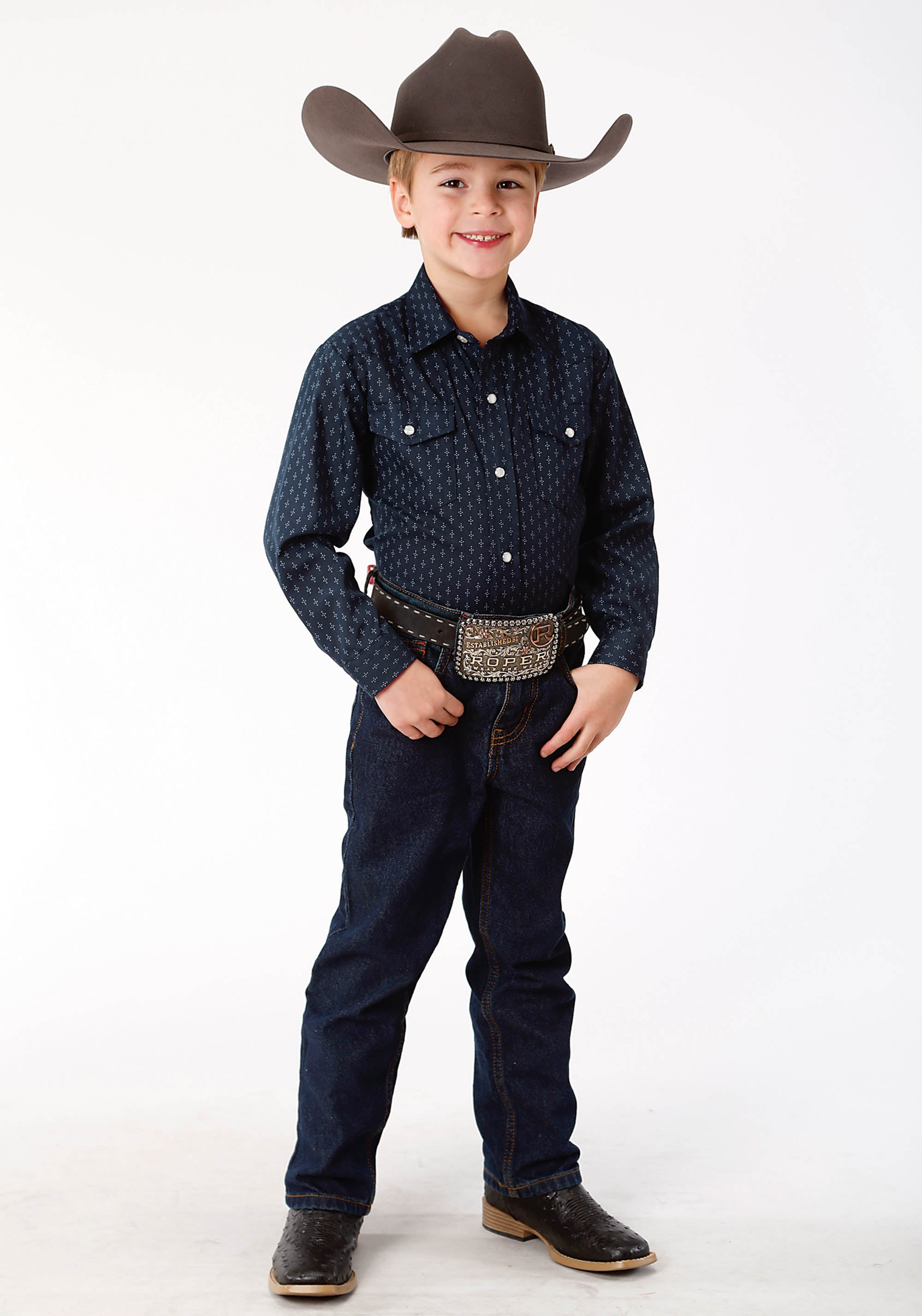 ROPER BOYS BLUE 9896 NAVY & LIGHT GREY DOT PRINT KARMAN CLASSICS- 55/45 PRINT LONG SLEEVE