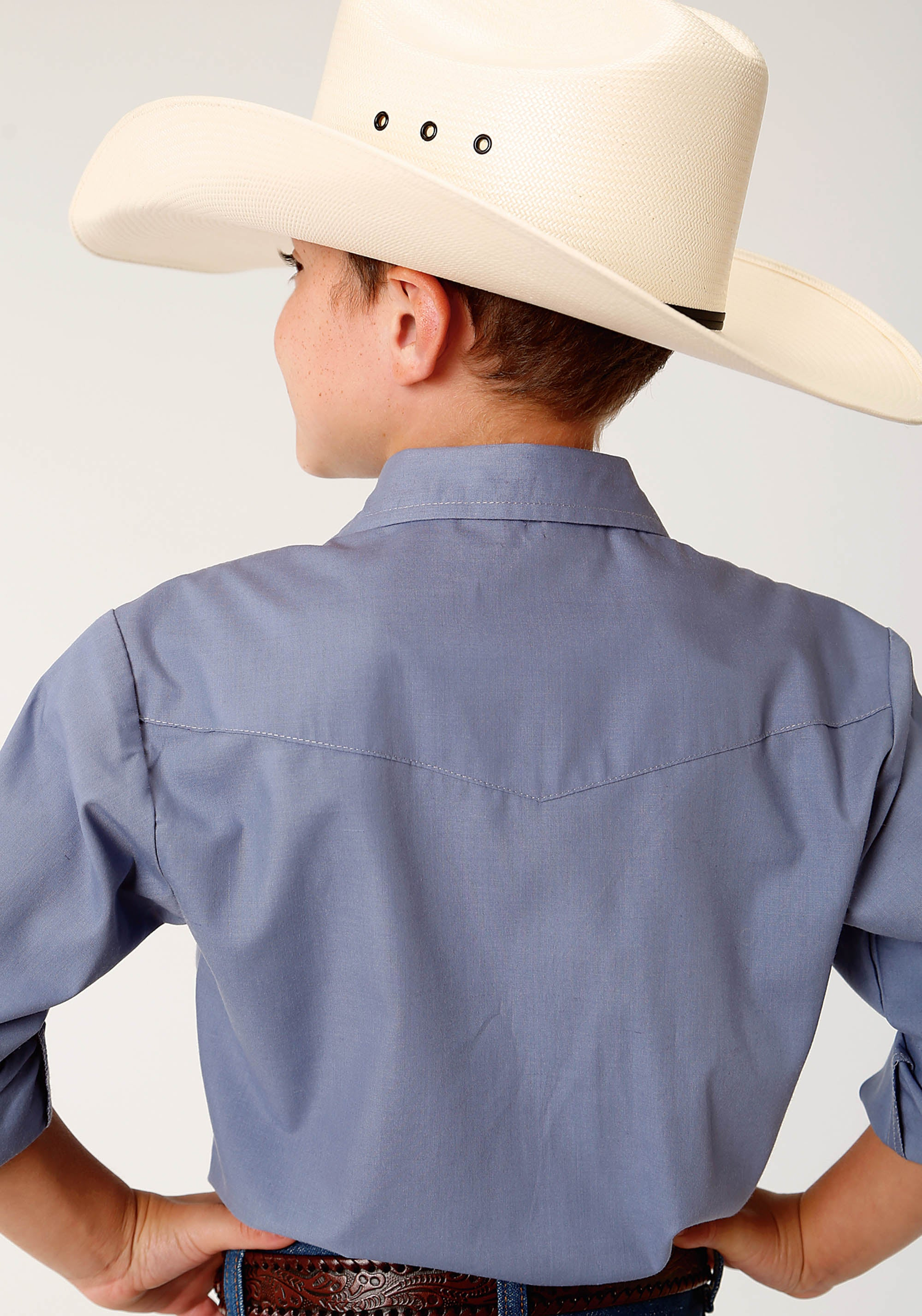 ROPER BOYS BLUE 3603 SOLID BROADCLOTH - PERIWINKLE KARMAN CLASSICS- 55/45 SOLID LONG SLEEVE