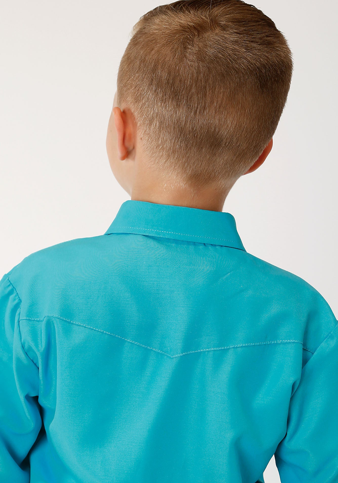 ROPER BOYS BLUE 00148 SOLID BROADCLOTH - TURQUOISE KARMAN CLASSICS- 55/45 SOLID LONG SLEEVE