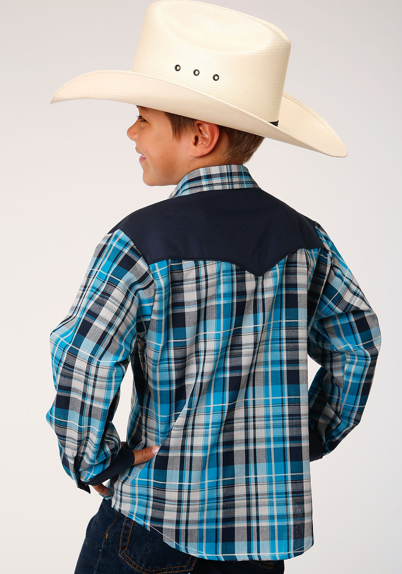 ROPER BOYS BLUE 00053 TURQUOISE/BLACK/GREY PLAID KARMAN SPECIAL STYLES LONG SLEEVE