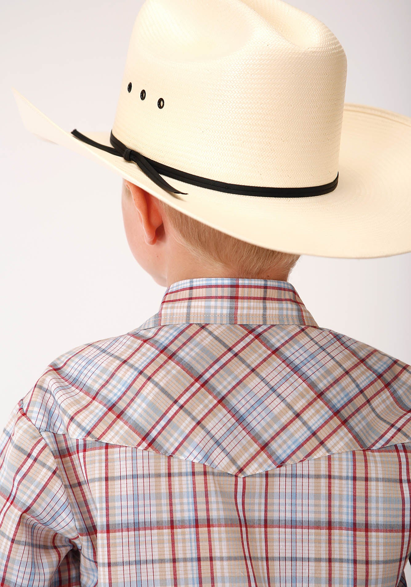 ROPER BOYS TAN 00209 TAN, RED, BLUE AND WHITE PLAID KARMAN CLASSICS- 55/45 PLAIDS LONG SLEEVE