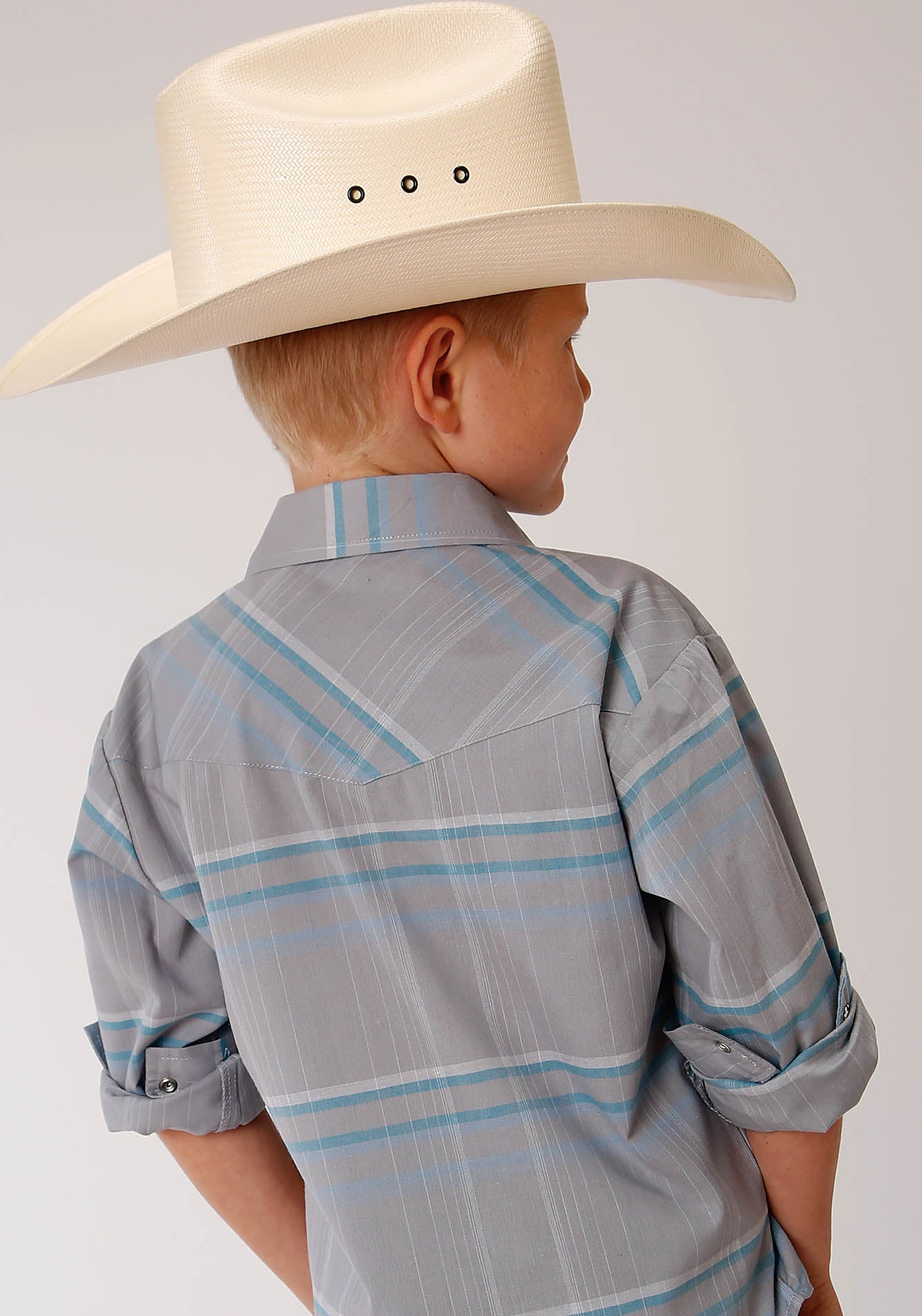 ROPER BOYS GREY 00212 GREY, WHITE, & BLUE PLAID KARMAN CLASSICS- 55/45 PLAIDS LONG SLEEVE