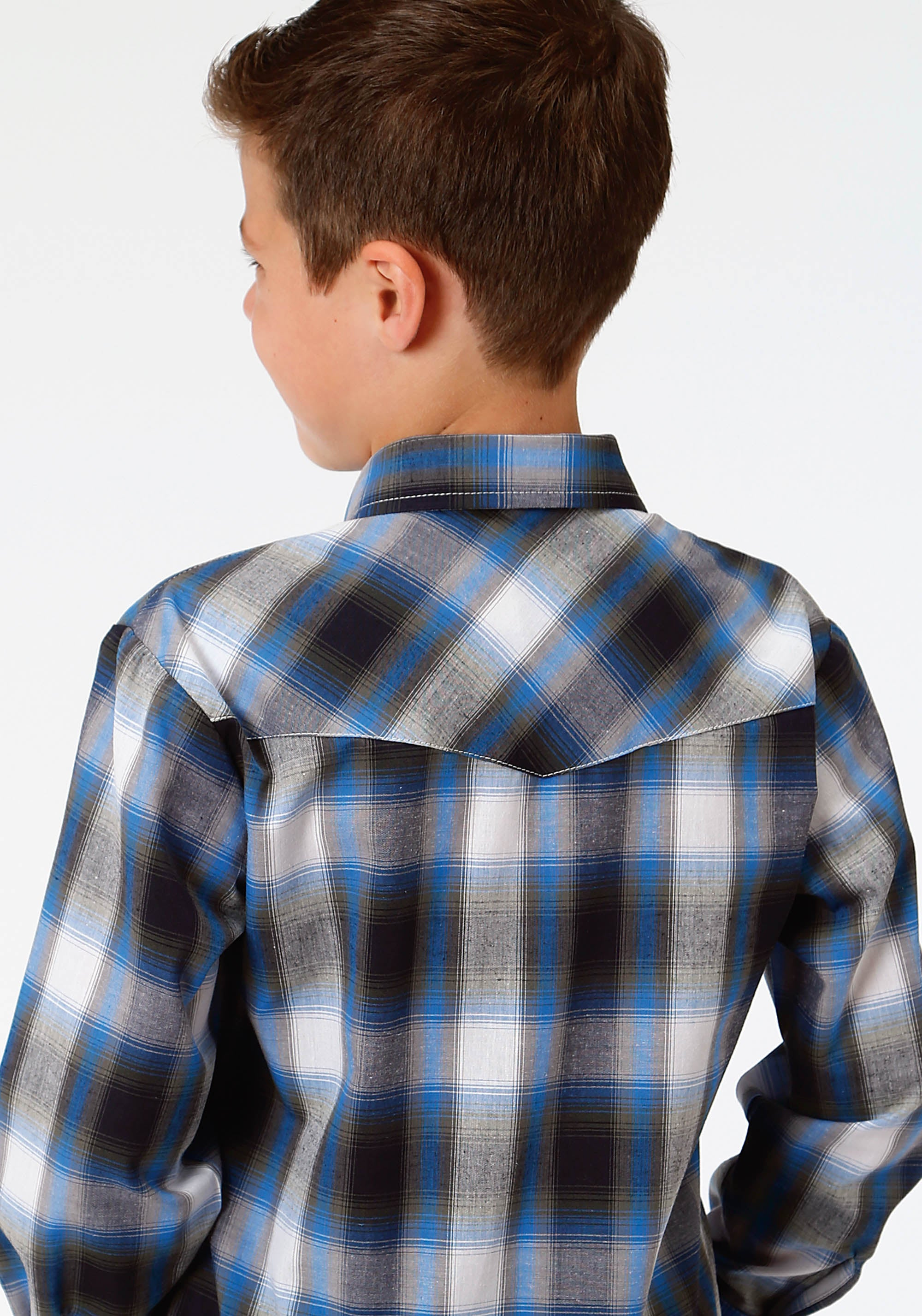 ROPER BOYS BLUE 0022 SKY BLUE, NAVY OLIVE PLAID KARMAN CLASSICS- 55/45 PLAID LONG SLEEVE
