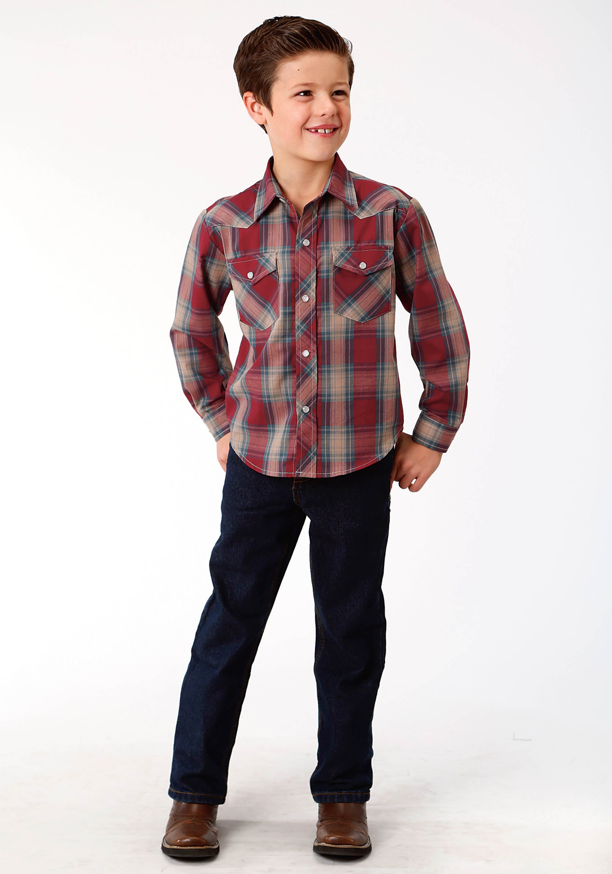 ROPER BOYS RED 0114 RED, DUTCH BLUE, & TAN PLAID KARMAN CLASSICS- 55/45 PLAID LONG SLEEVE