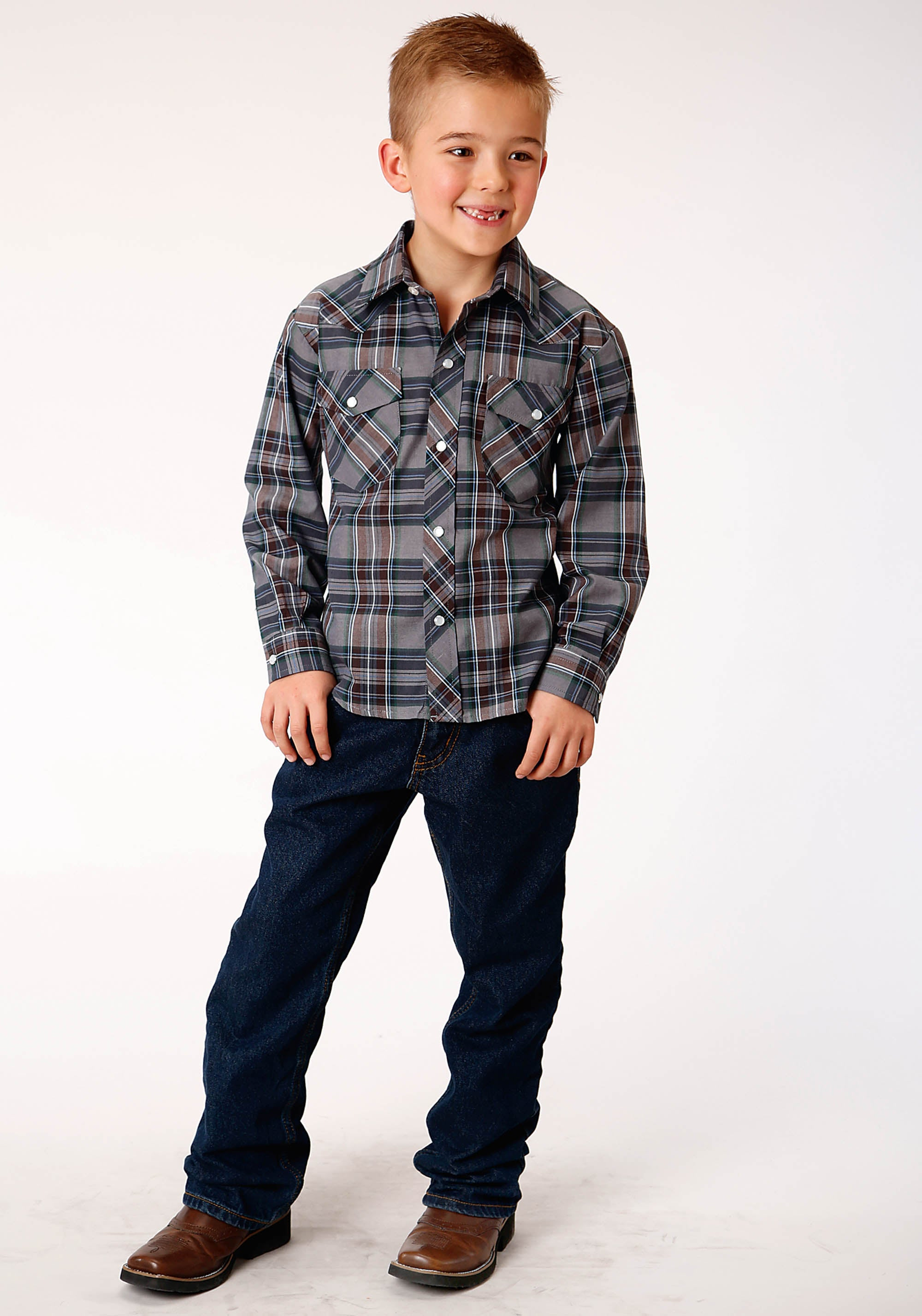 POLY COTTON BOYS GREY 00308 GREY, NAVY & WHITE PLAID 55/45 PLAIDS