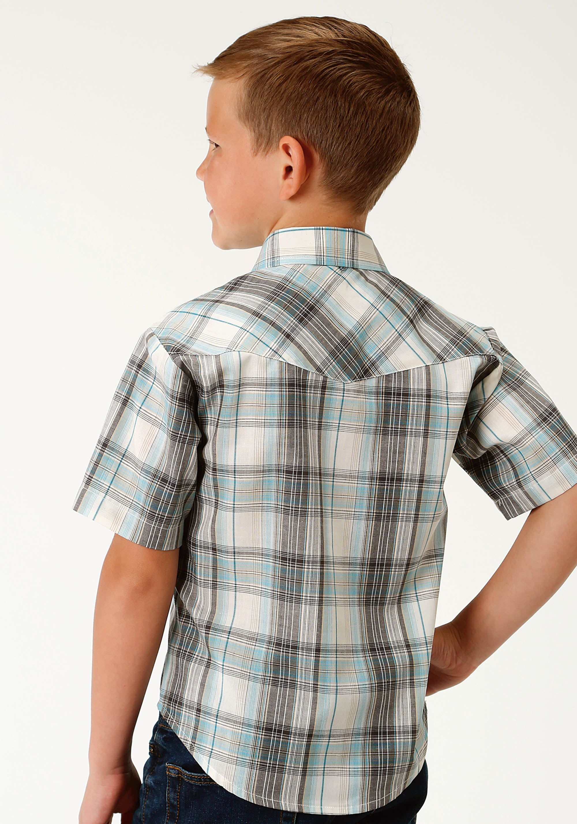 ROPER BOYS GREEN 2794 TEAL, BLACK & CREAM PLAID KARMAN CLASSICS- 55/45 PLAID SHORT SLEEVE