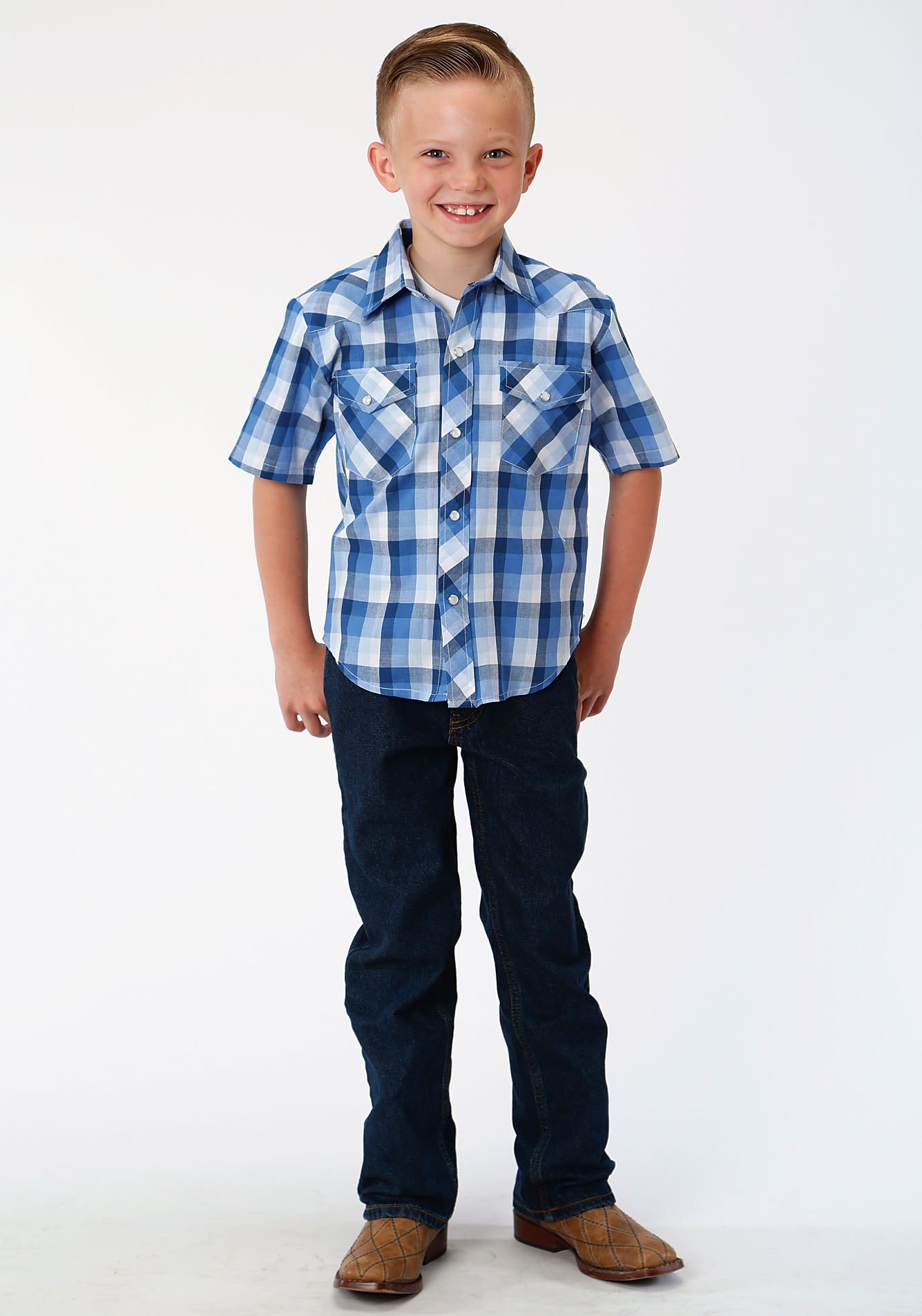 ROPER BOYS BLUE 00043 MULTI BLUE PLAID KARMAN CLASSICS- 55/45 PLAID SHORT SLEEVE