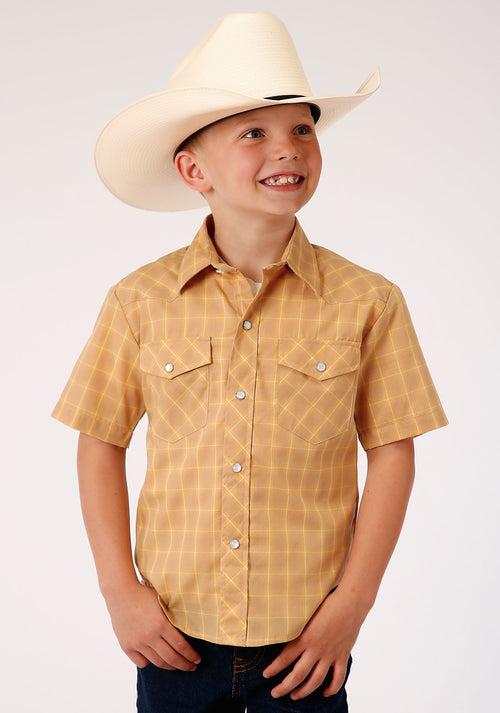 ROPER BOYS BROWN 00047 BUTTERSCOTCH PLAID KARMAN CLASSICS- 55/45 PLAID SHORT SLEEVE