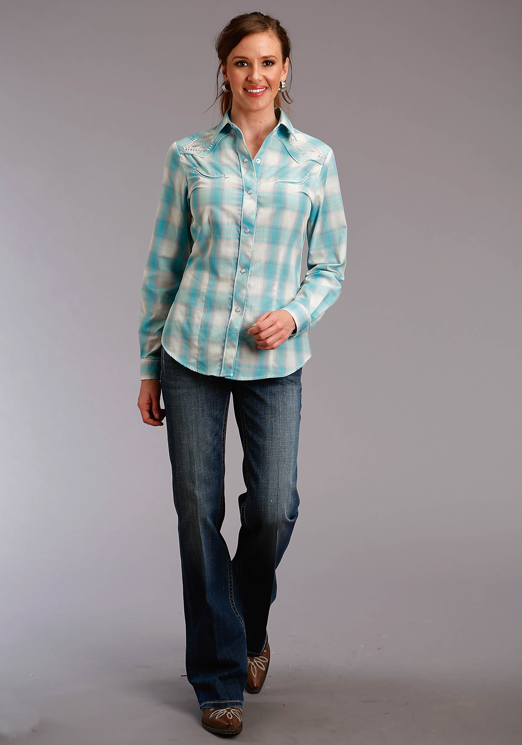 ROPER WOMENS BLUE 2817 TURQUOISE & CREAM PLAID KARMAN SPECIAL STYLES LONG SLEEVE