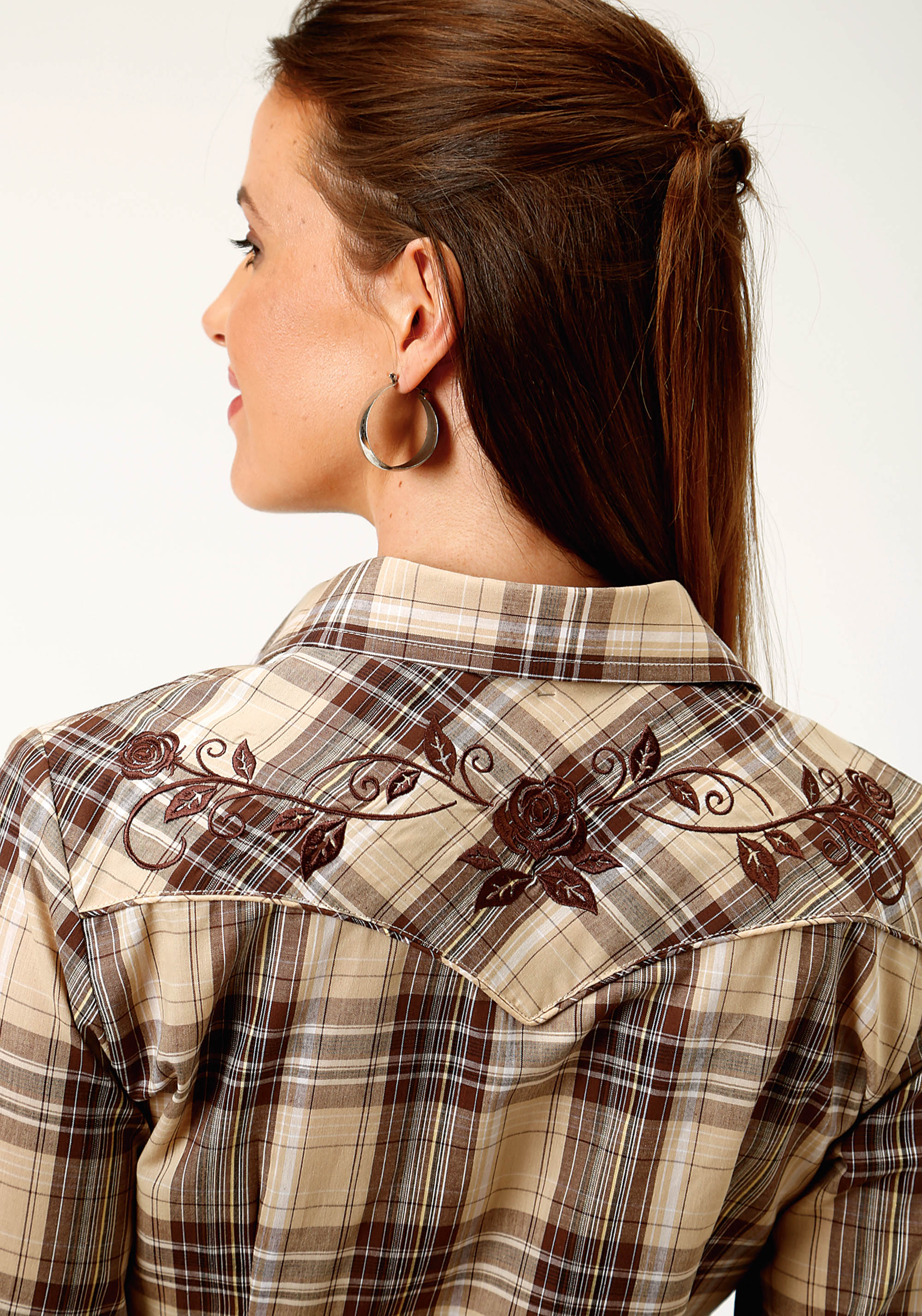 ROPER WOMENS BROWN 3630 BROWN AND TAN PLAID KARMAN SPECIAL STYLES LONG SLEEVE