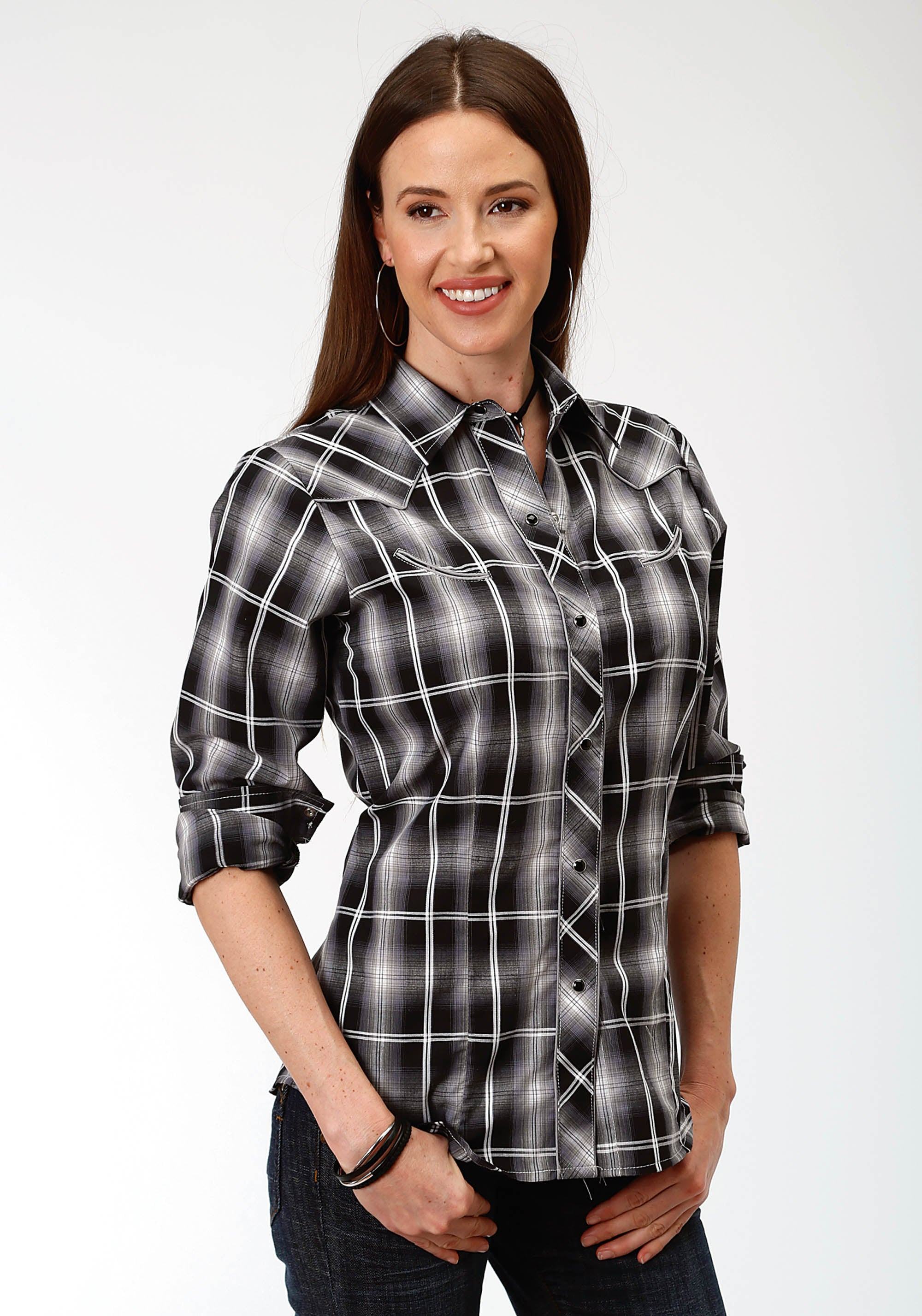 ROPER WOMENS BLACK 0133 BLACK, GREY, & WHITE PLAID KARMAN SPECIAL STYLES LONG SLEEVE