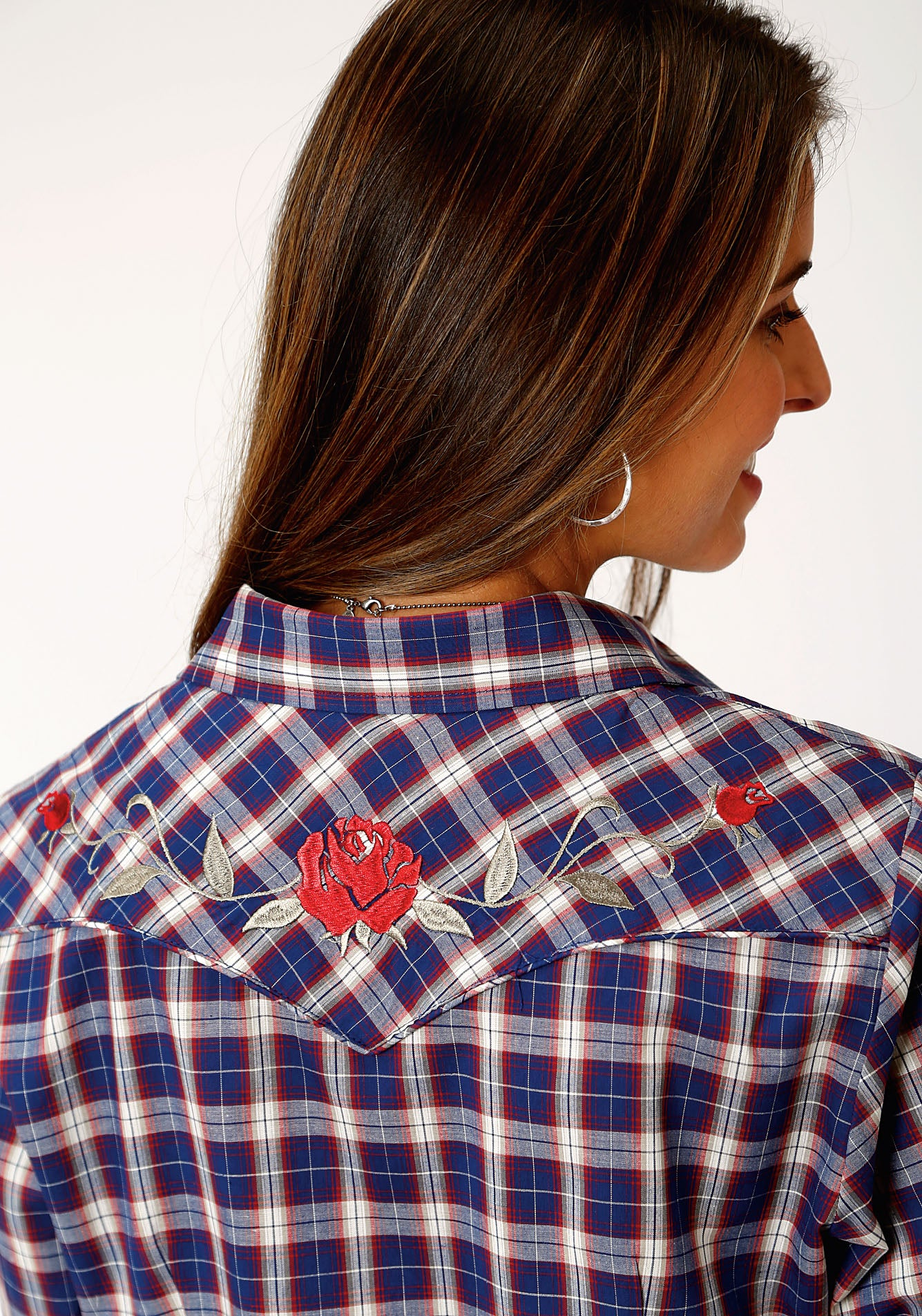 ROPER WOMENS BLUE 00041 NAVY/RED/TAN PLAID KARMAN SPECIAL STYLE LONG SLEEVE
