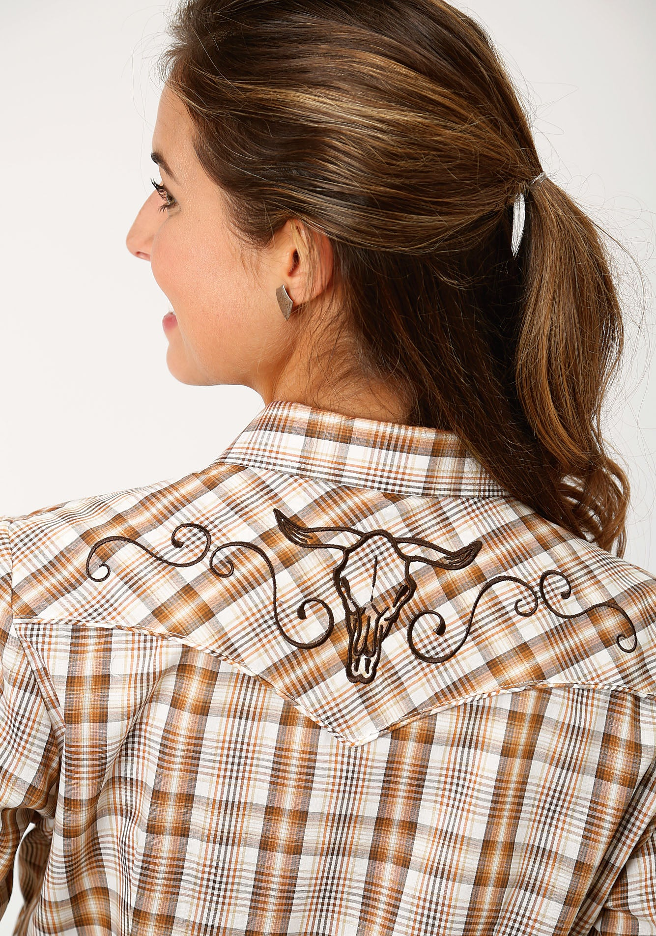 ROPER WOMENS BROWN 00046 BROWN/RUST/CREAM PLAID KARMAN SPECIAL STYLES LONG SLEEVE