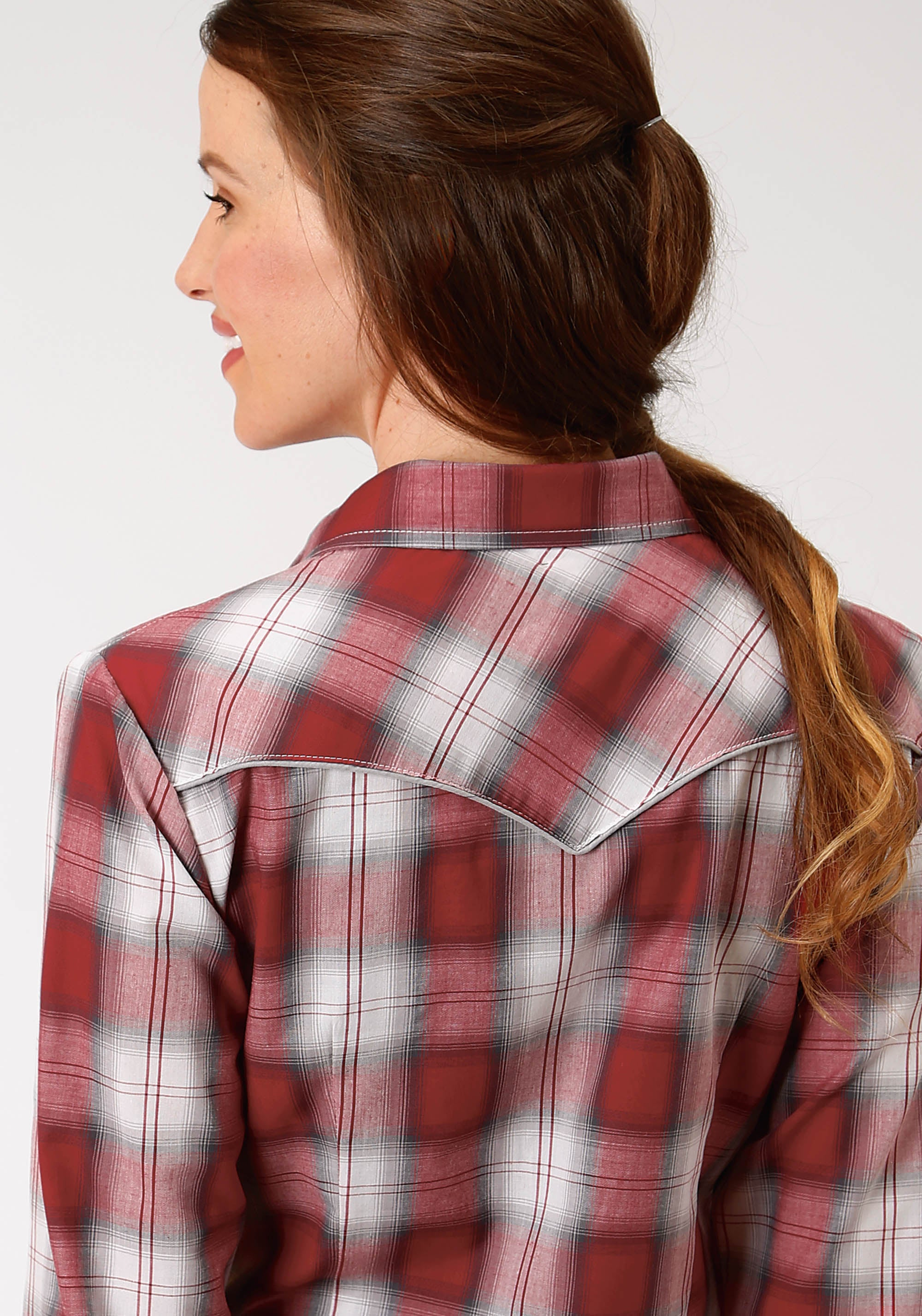 ROPER WOMENS RED 9910 RED BLACK & GREY PLAID KARMAN SPECIAL STYLES LONG SLEEVE