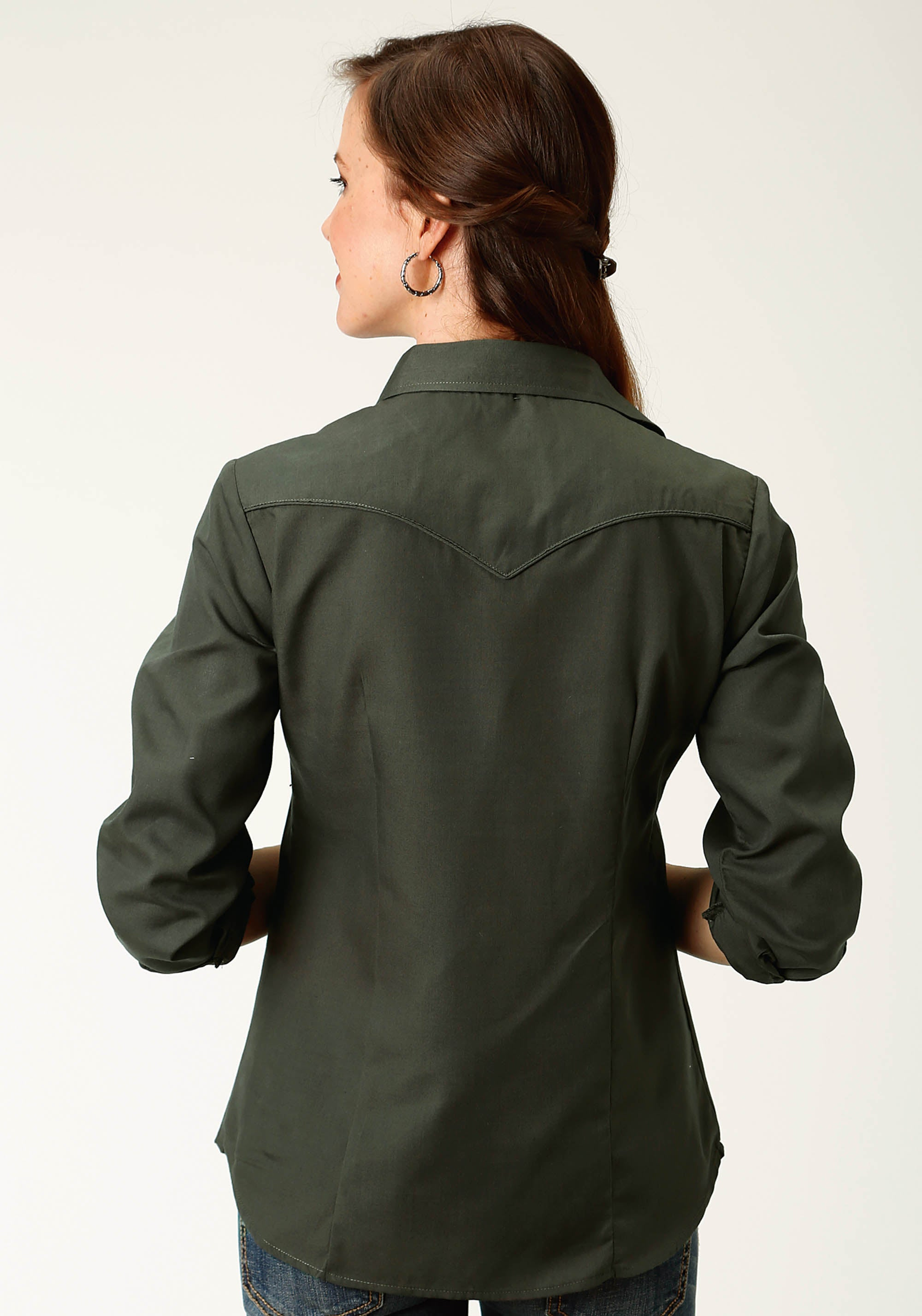 ROPER WOMENS GREEN 3019 SOLID BROADCLOTH - OLIVE KARMAN SPECIAL STYLES LONG SLEEVE