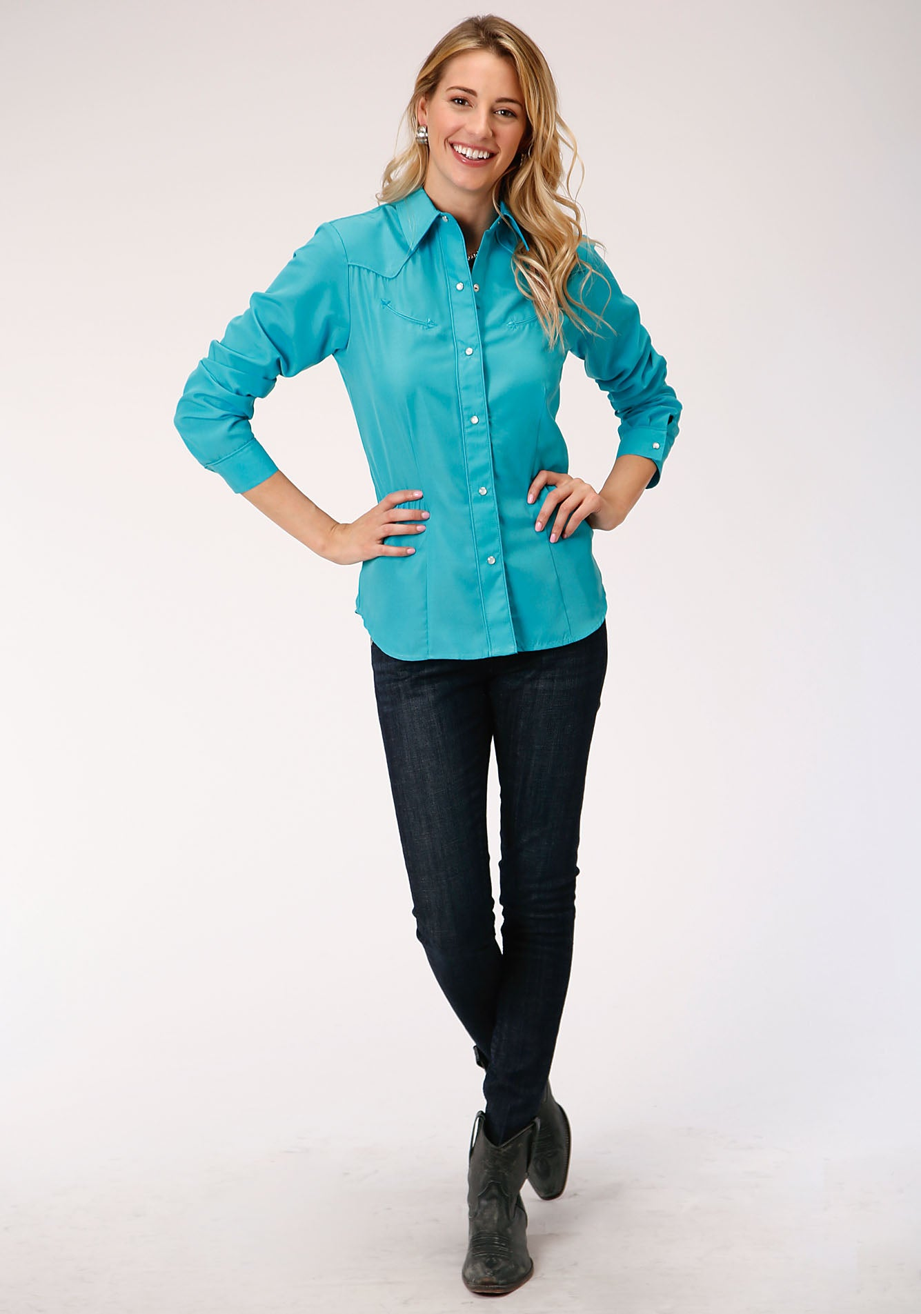 ROPER WOMENS BLUE 00148B SOLID BROADCLOTH - TURQUOISE KARMAN SPECIAL STYLES LONG SLEEVE