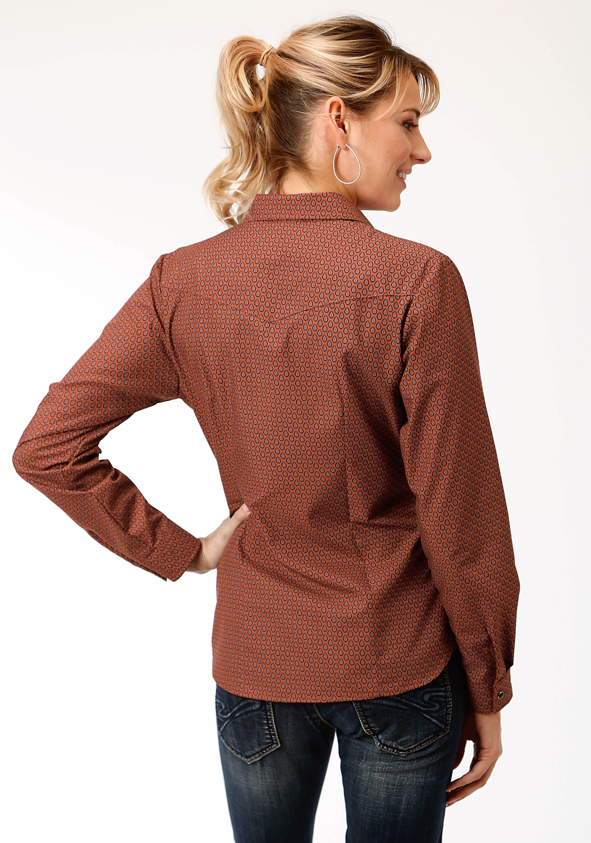 ROPER WOMENS RUST 233 RUST TEAR DROP PRINT KARMAN CLASSICS- 55/45 PRINT LONG SLEEVE