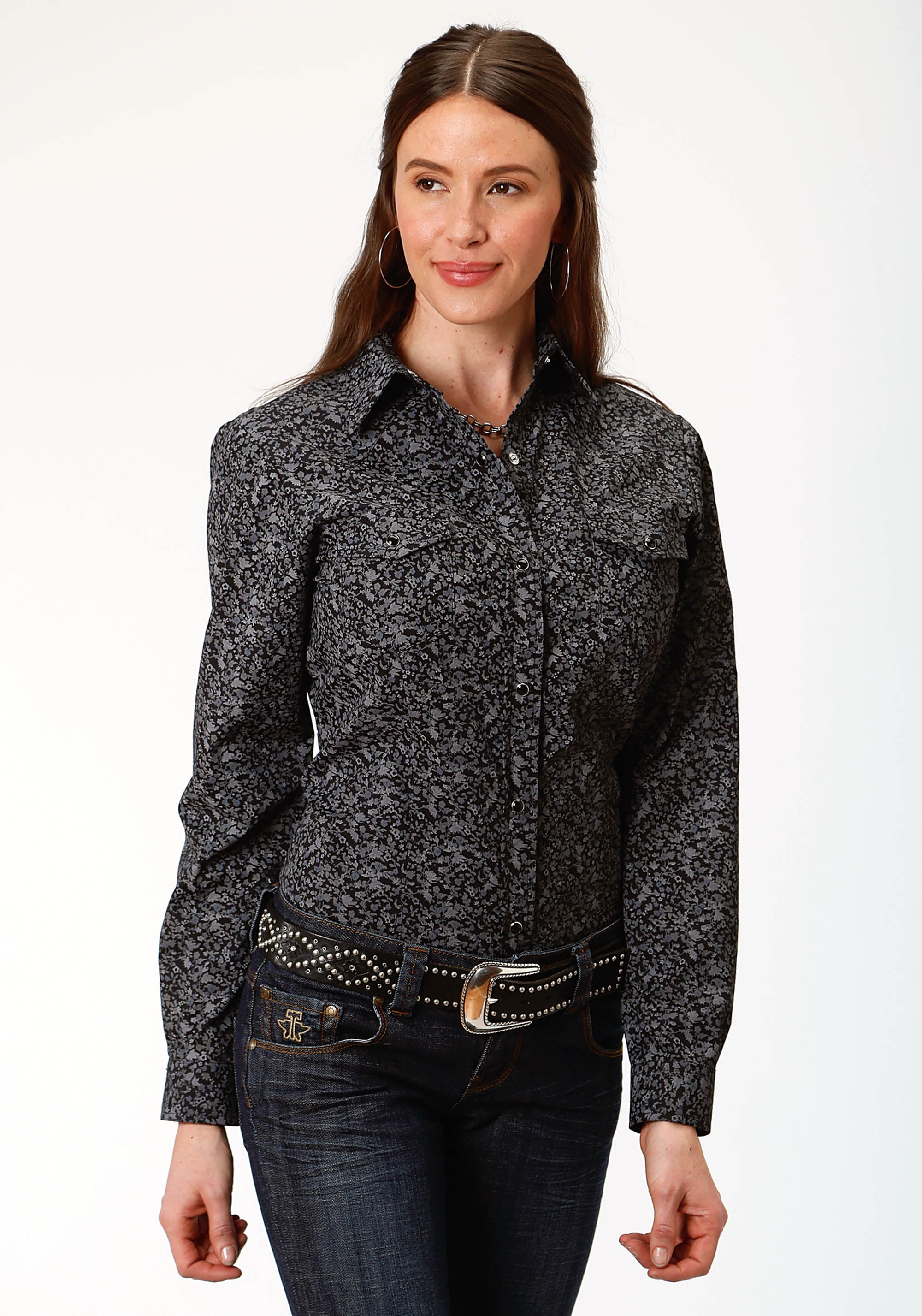 ROPER WOMENS BLACK 9895 BLACK GROUND FLORAL KARMAN CLASSICS- 55/45 PRINT LONG SLEEVE