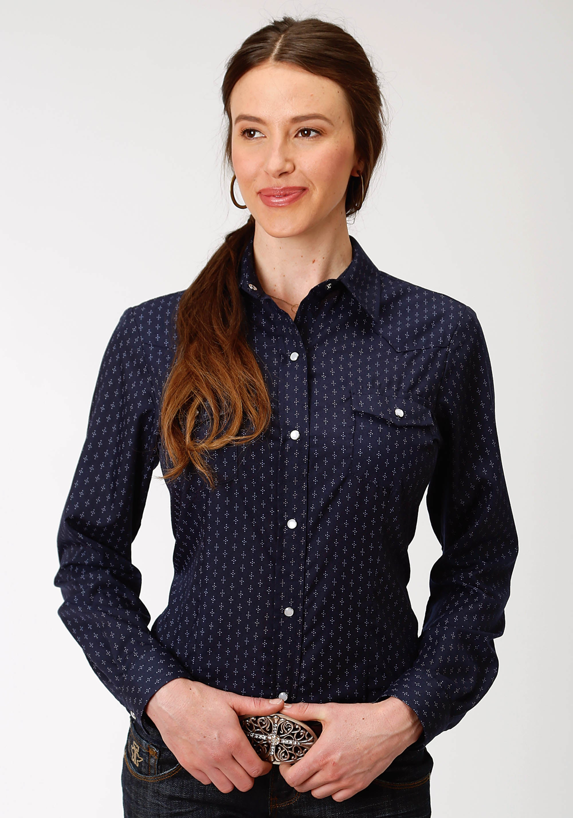 ROPER WOMENS BLUE 9896 NAVY & LIGHT GREY DOT PRINT KARMAN CLASSICS- 55/45 PRINT LONG SLEEVE