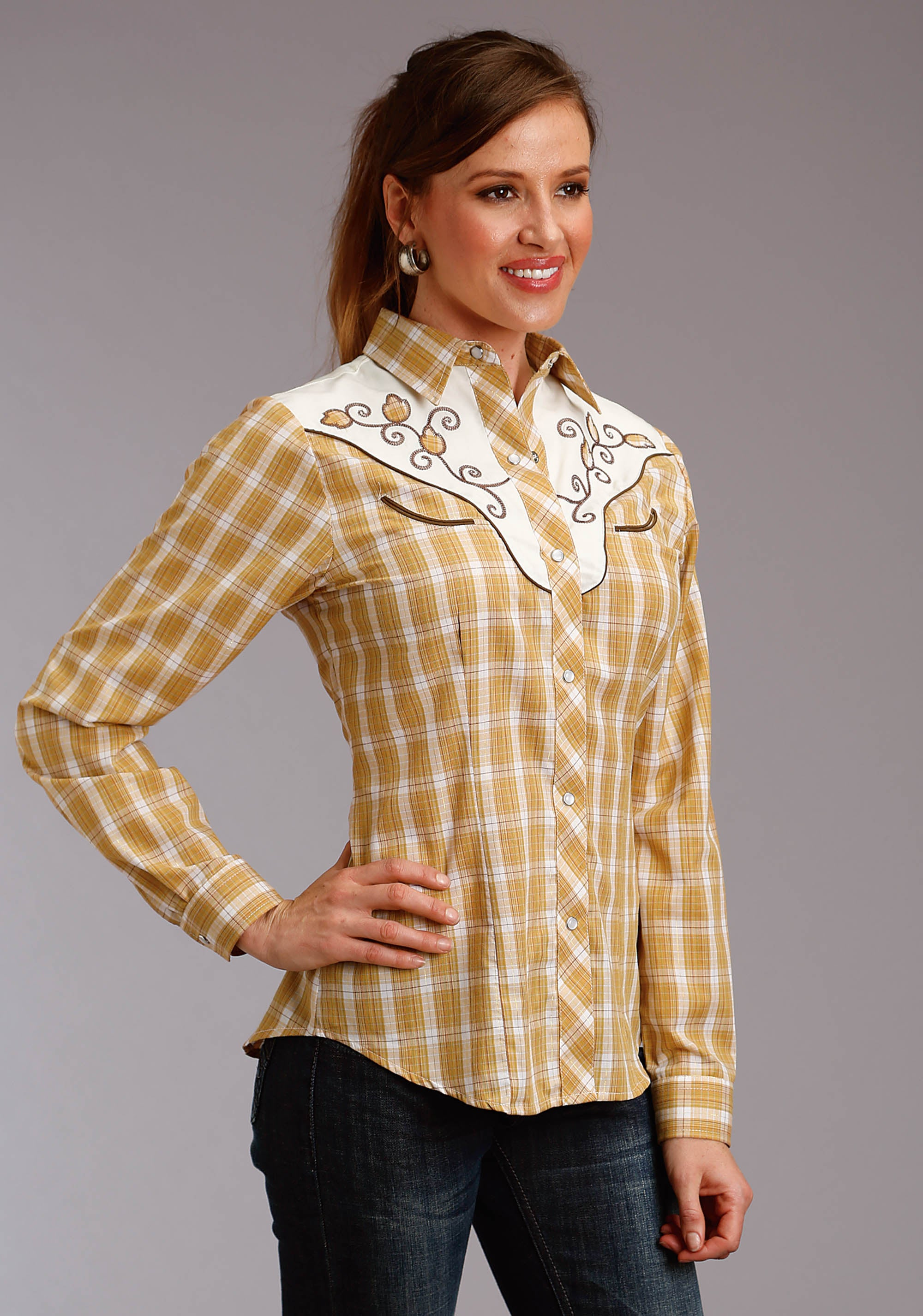 ROPER WOMENS BROWN 2884 TAN & WHITE PLAID W/GOLD LUREX KARMAN SPECIAL STYLES LONG SLEEVE