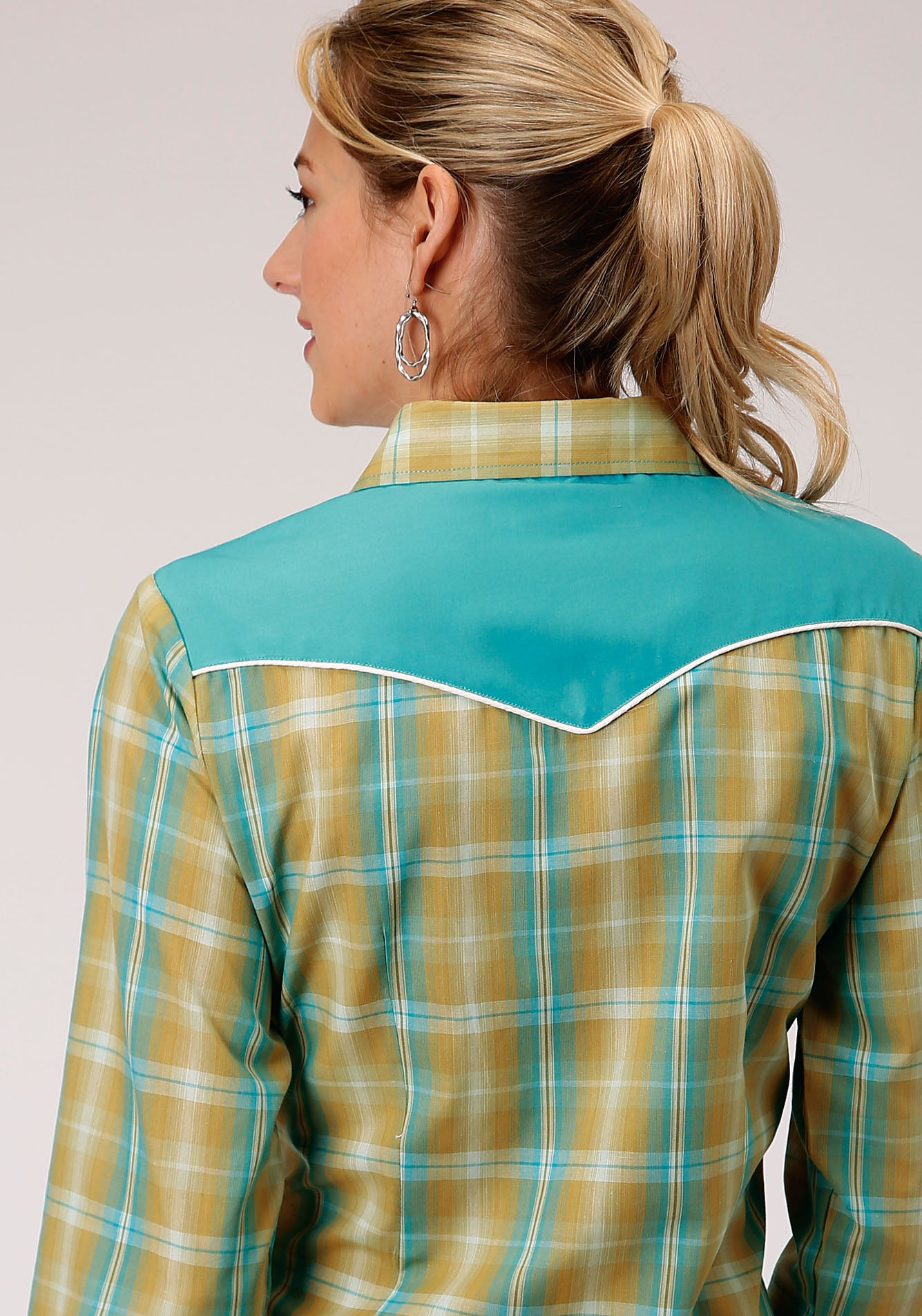 ROPER WOMENS GREEN 00044 CELERY & TURQUOISE PLAID KARMAN SPECIAL STYLES LONG SLEEVE