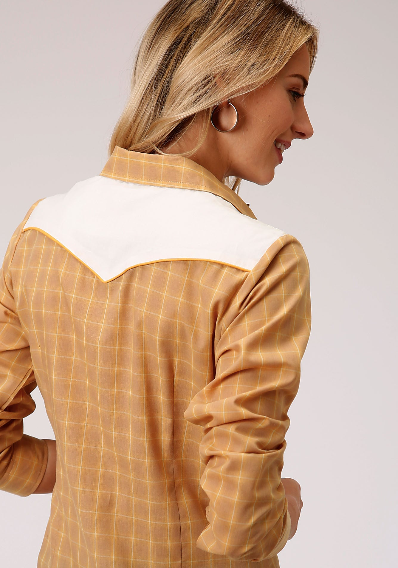 ROPER WOMENS BROWN 00047 BUTTERSCOTCH PLAID KARMAN SPECIAL STYLES LONG SLEEVE