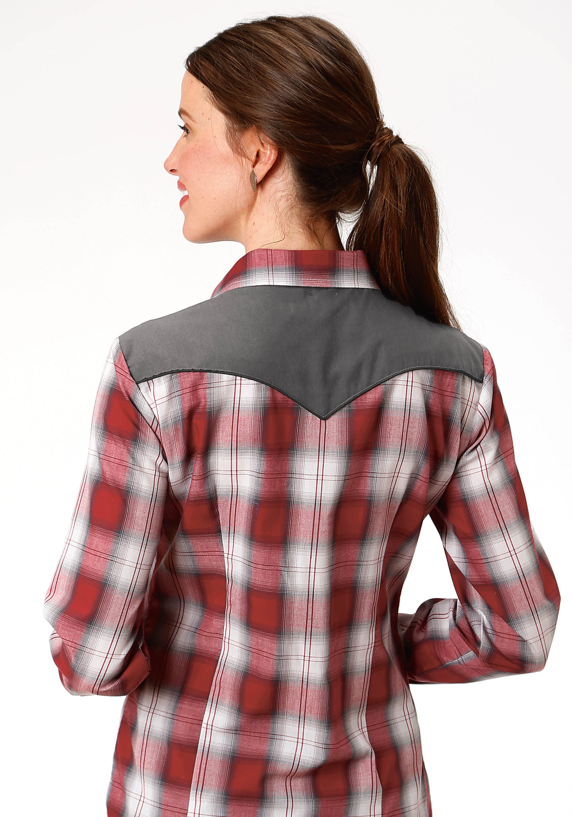 ROPER WOMENS RED 9910 RED, WHITE & GREY PLAID KARMAN SPECIAL STYLES LONG SLEEVE
