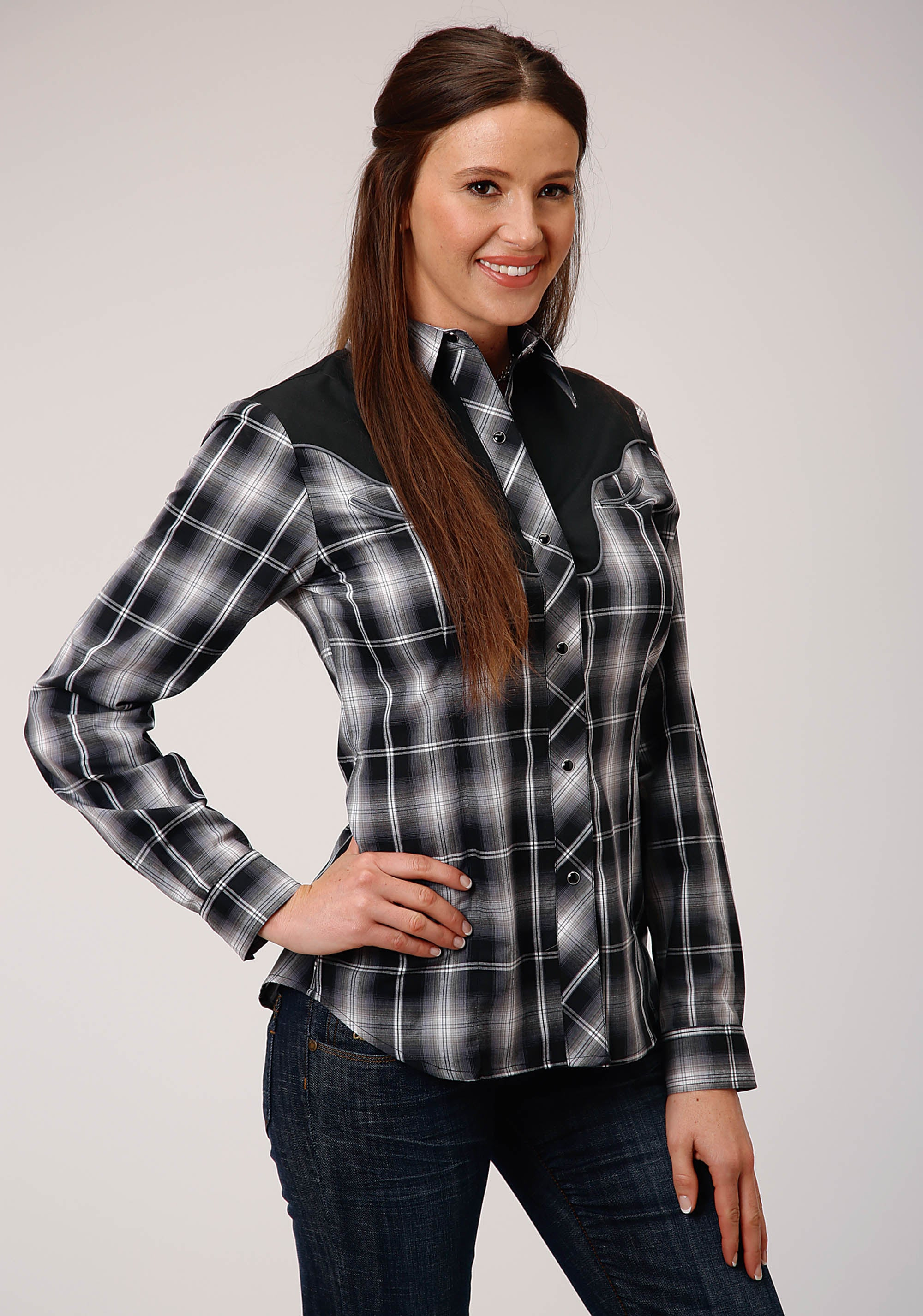 POLY COTTON WOMENS BLACK 00304 BLACK AND WHITE PLAID KARMAN SPECIAL STYLES