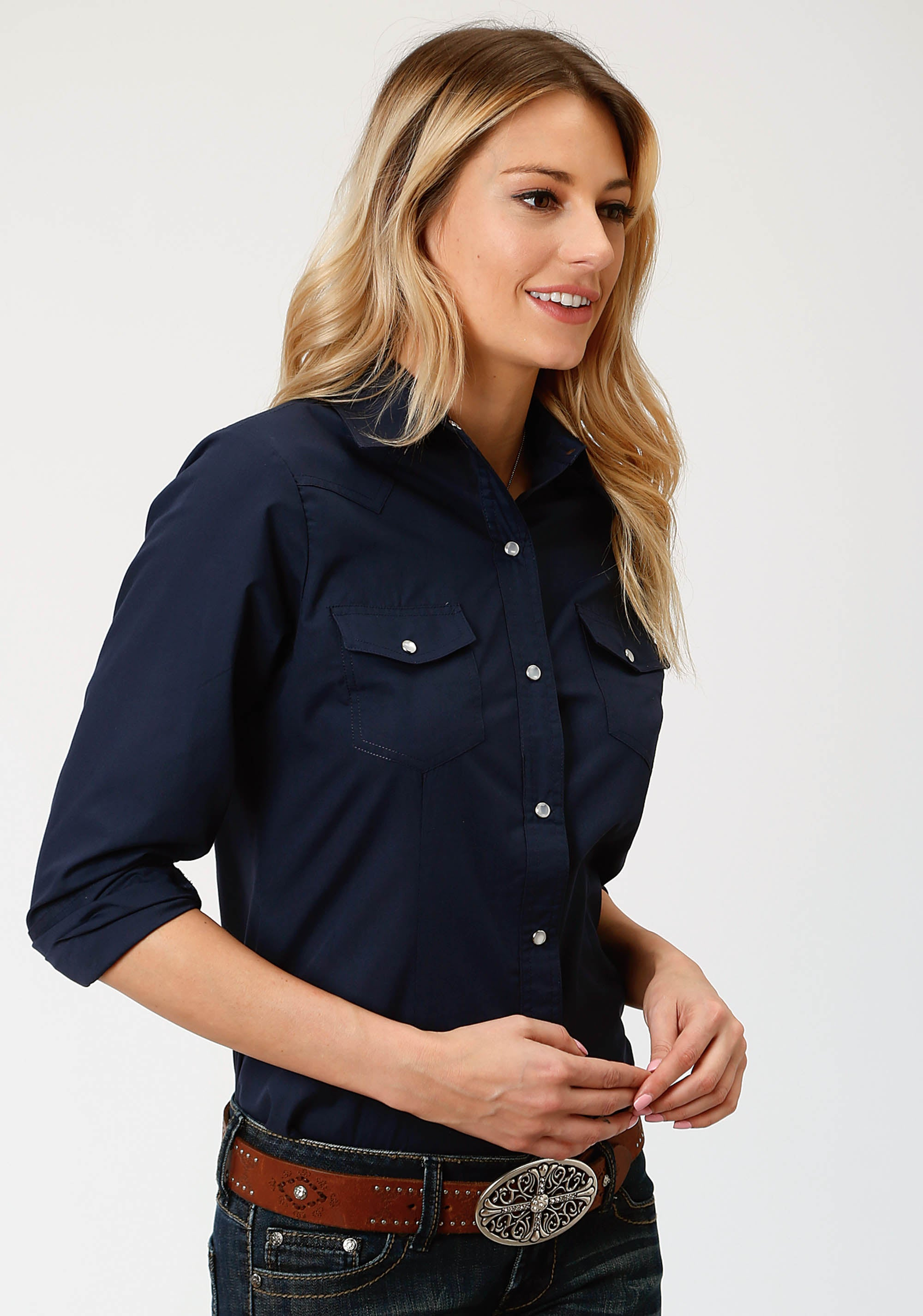 ROPER WOMENS BLUE 9837 SOLID BROADCLOTH - NAVY IN-STOCK LONG SLEEVE